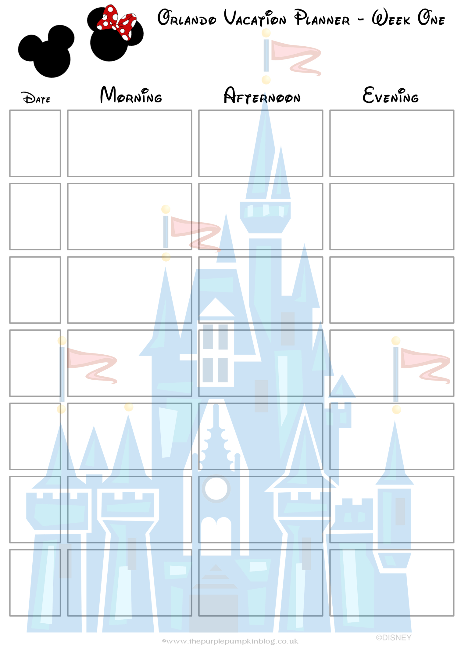 Orlando, Walt Disney World Vacation Planner | Disney | Disney for Disney World Itinerary Template Blank