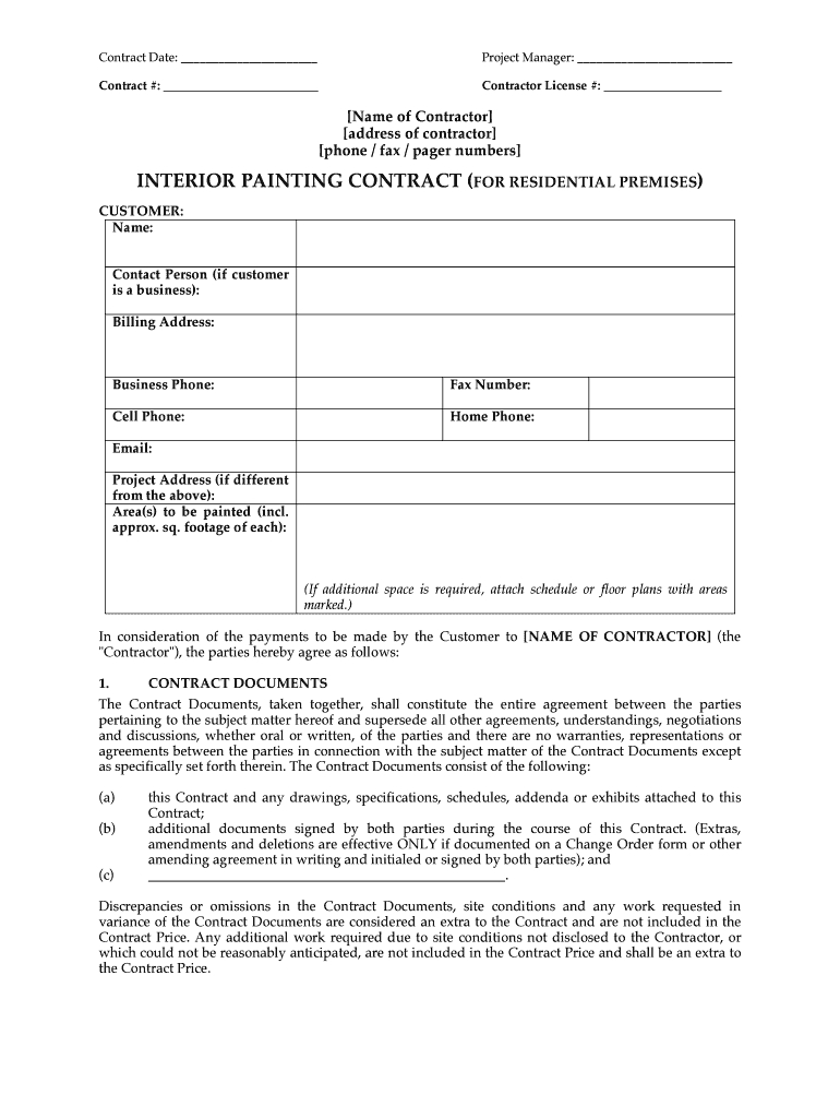 Painting Contractor Forms - Fill Online, Printable, Fillable, Blank for Paint Proposal Template Word Doc