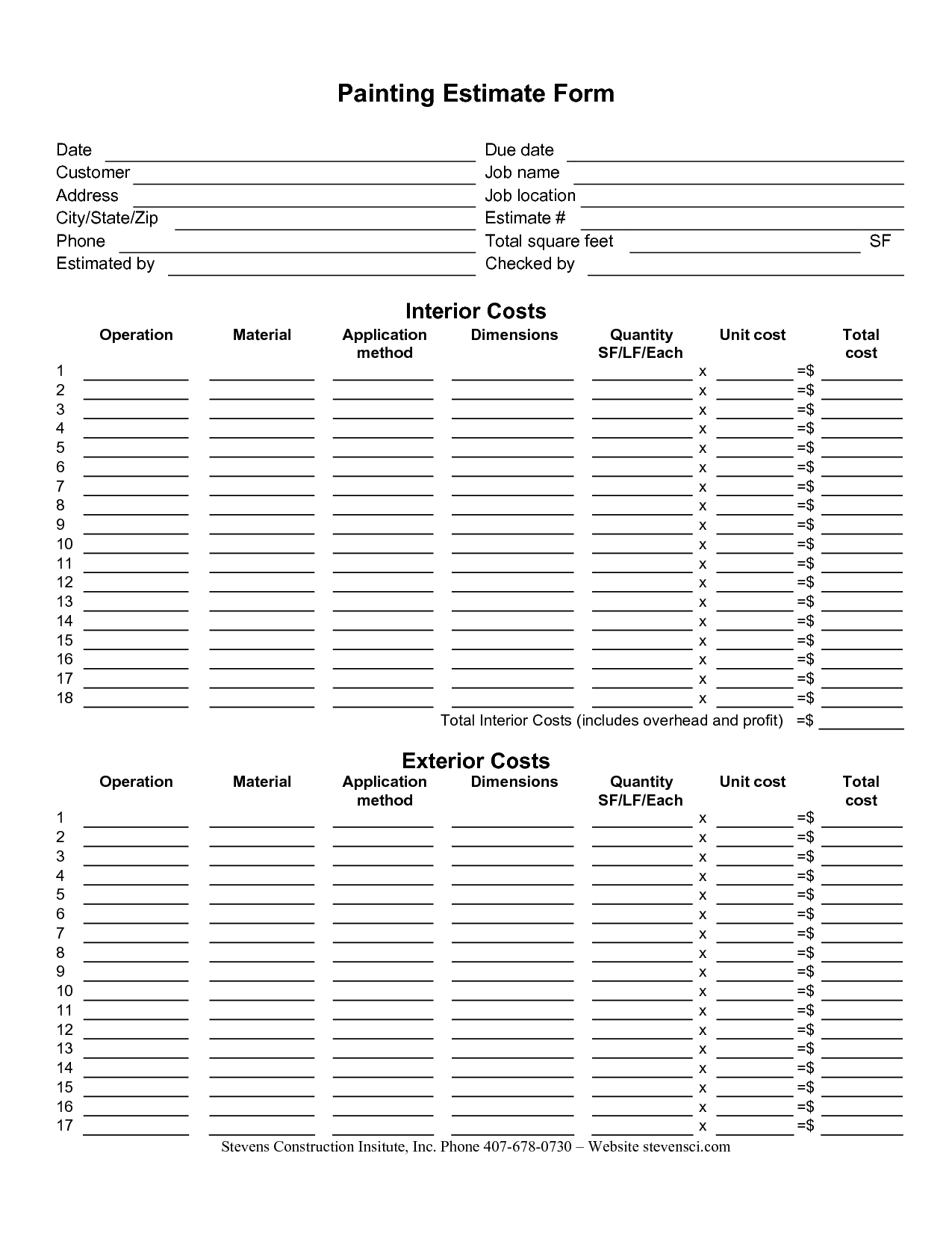 Painting Estimate Forms | Painting Estimate Form | International with regard to Paint Proposal Template Word Doc