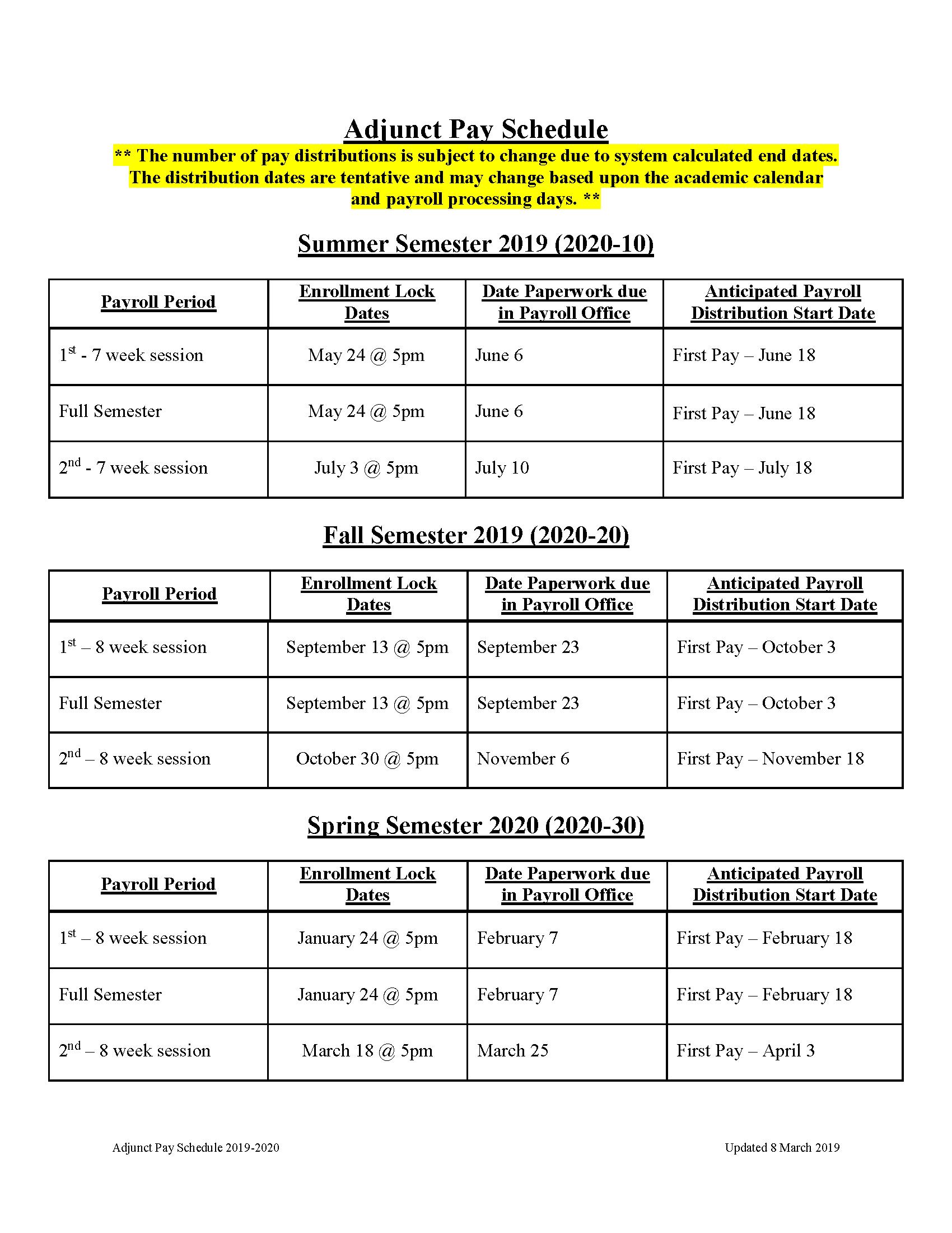 Payroll Schedules in U Of R 2020 Calendar