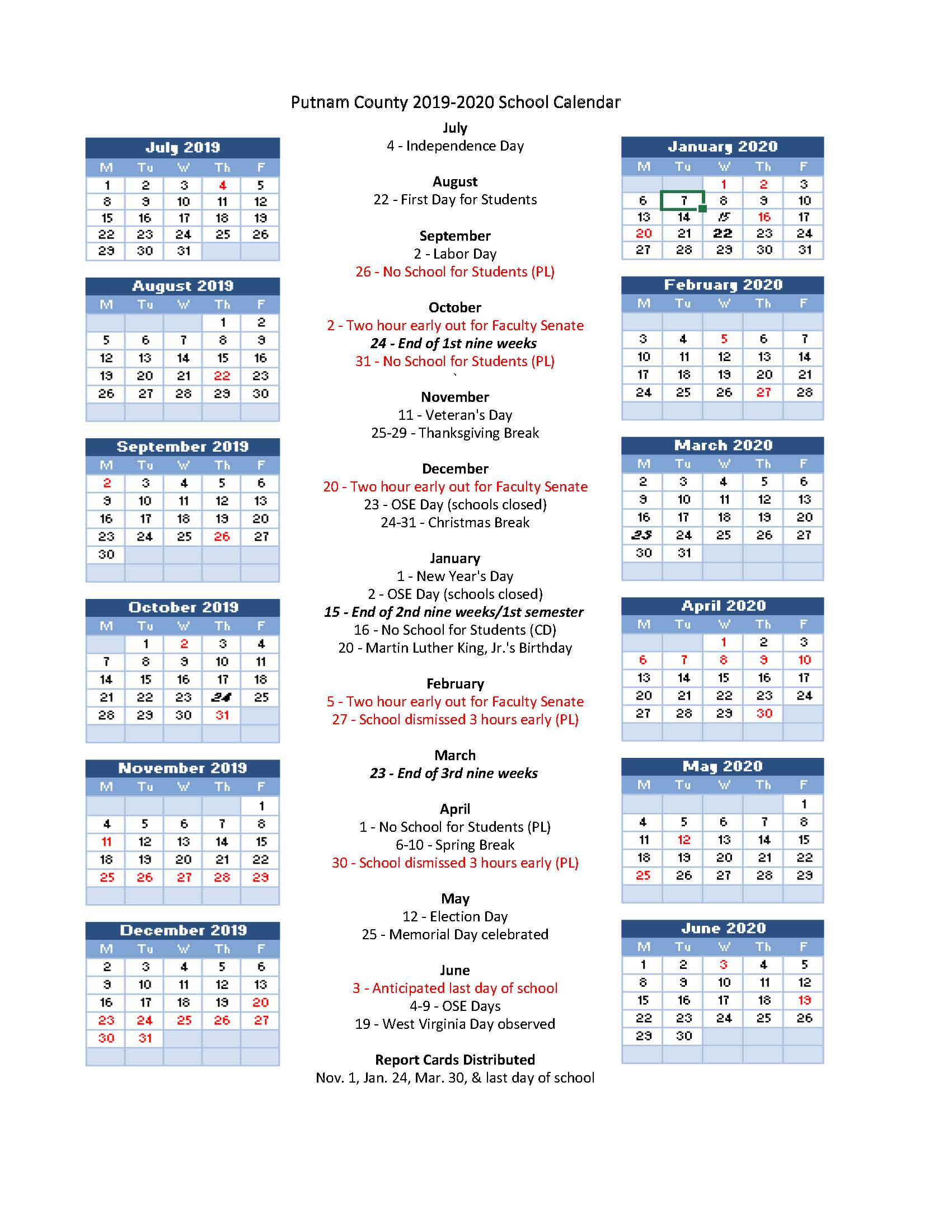Pcs 2019-2020 School Calendar Highlights - Putnam County Schools within Virginia Tech Academic Calendar 2019 2020