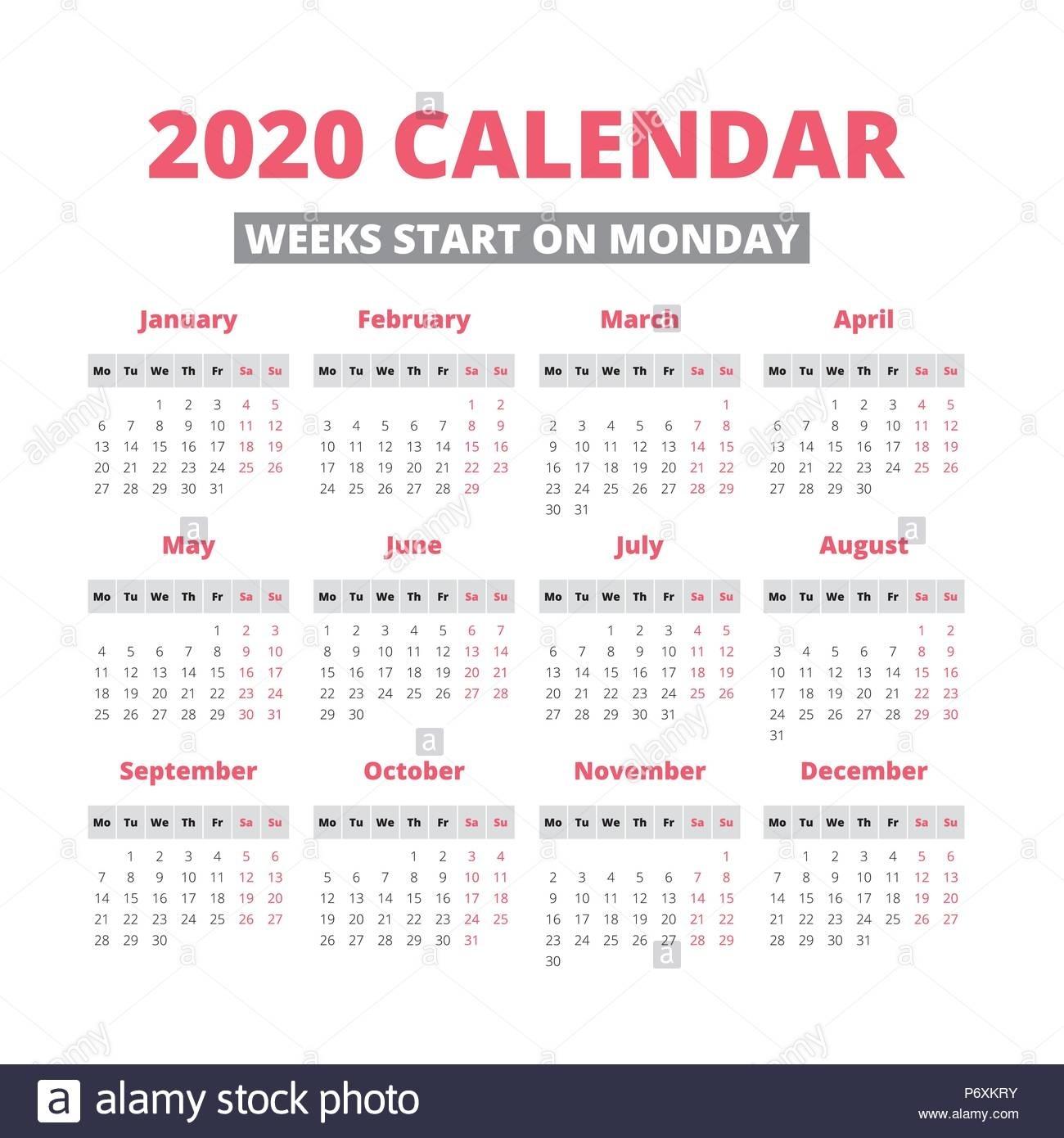 Perky 2020 Calendar Starting On Monday • Printable Blank Calendar throughout 2020 Calendar Starting On Monday