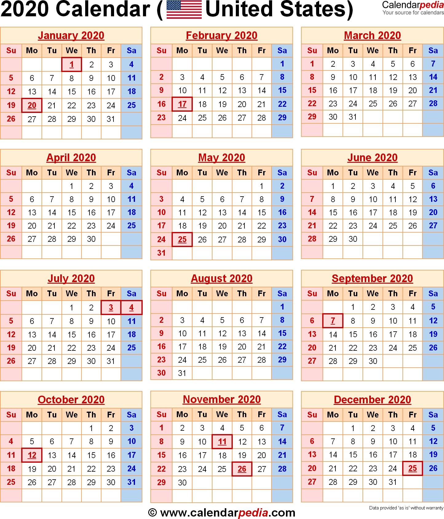 Perky 2020 Calendar Year At A Glance • Printable Blank Calendar Template for Excel Calendar At A Glance 2020