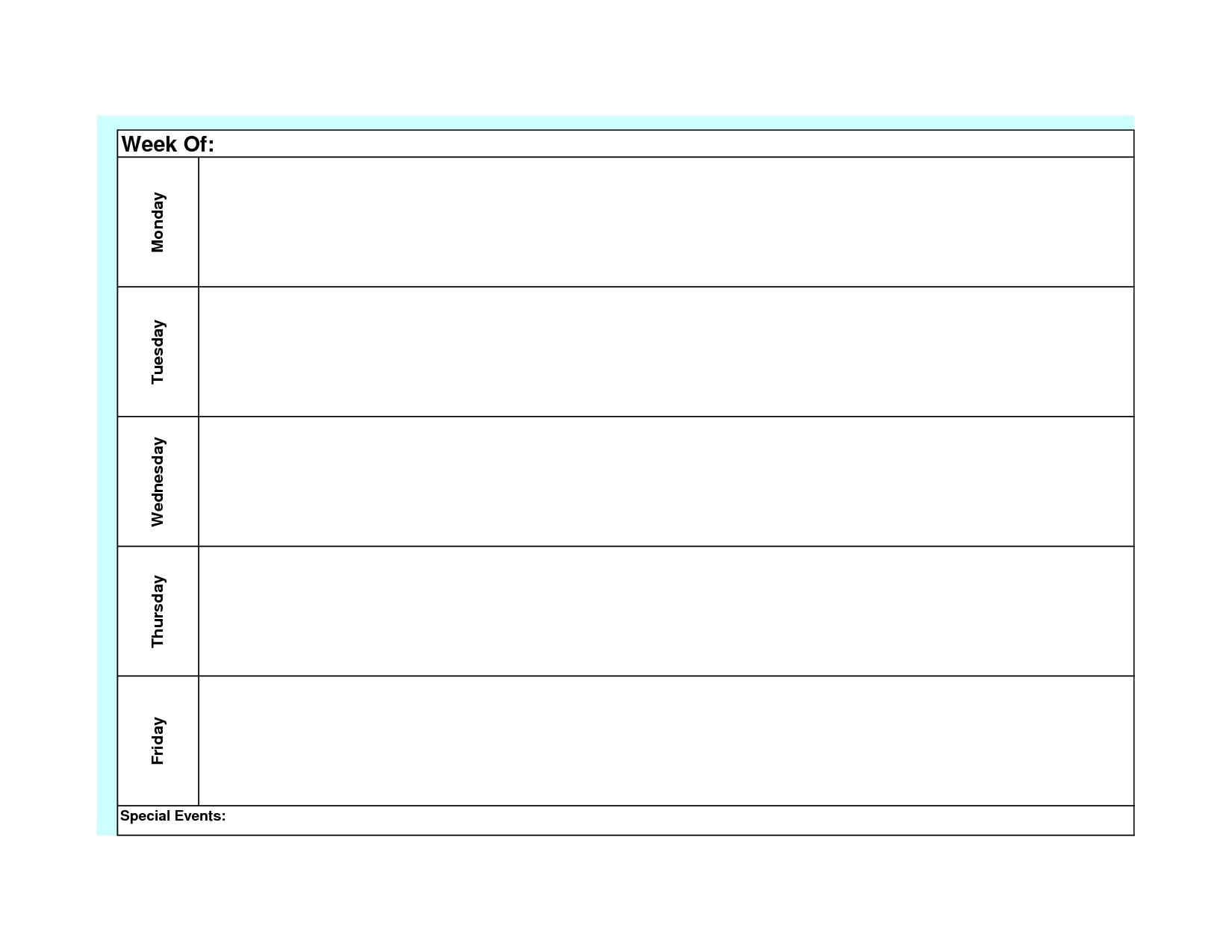 Perky Blank Calendar Monday Through Friday • Printable Blank intended for Calendar Template Monday To Sunday