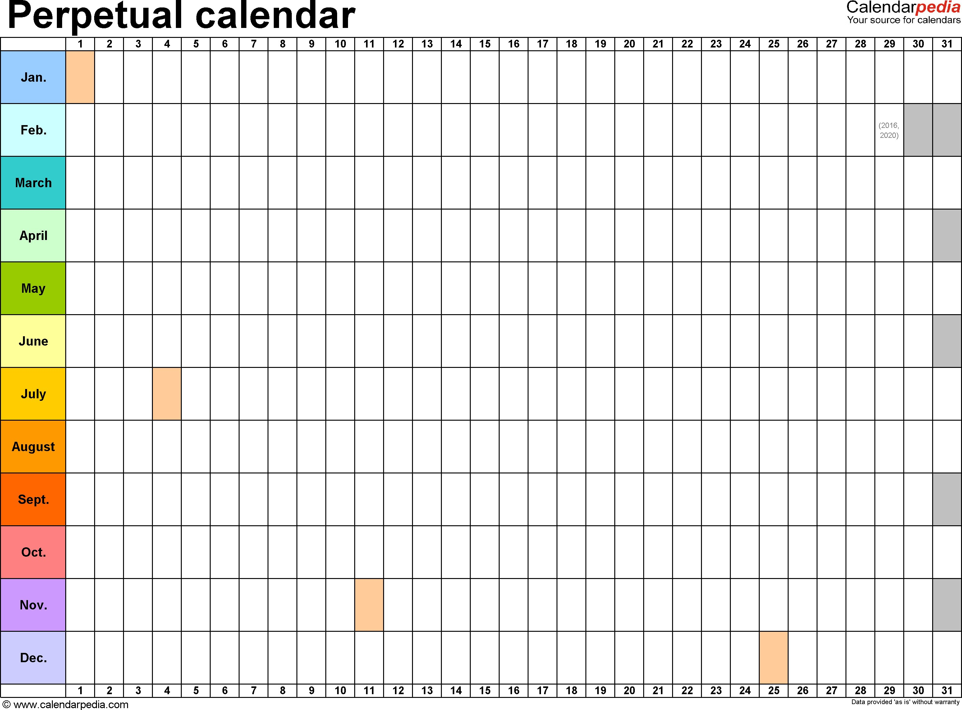 Perpetual Calendars 7 Free Printable Excel Templates In 365 Day inside Calendar Template With 194 Days