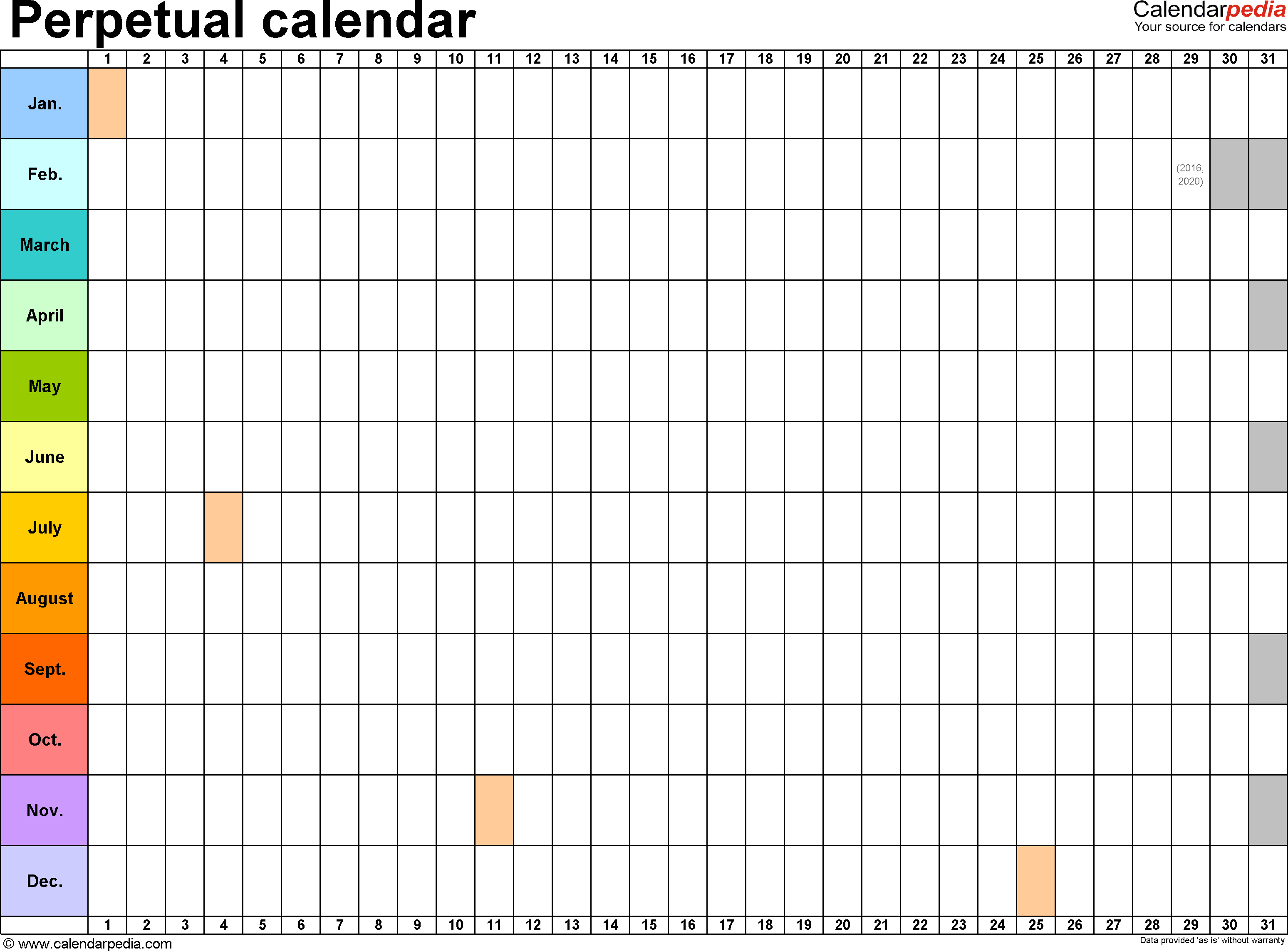 Perpetual Calendars - 7 Free Printable Excel Templates throughout Free Printable Perpetual Calendar Templates