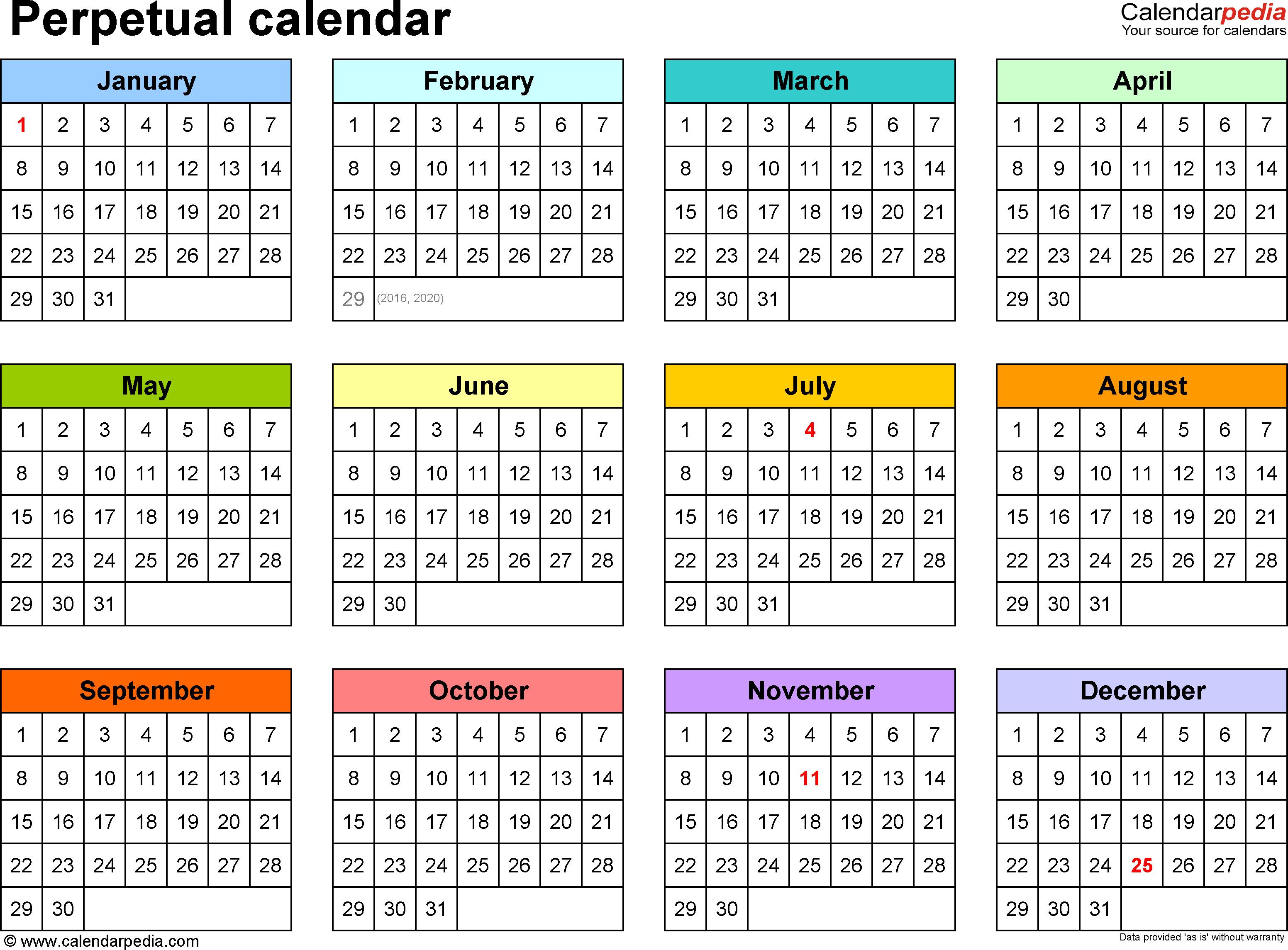 Perpetual Calendars - 7 Free Printable Pdf Templates with regard to Free Yearly 5.5 X 8.5 Calendar 2020