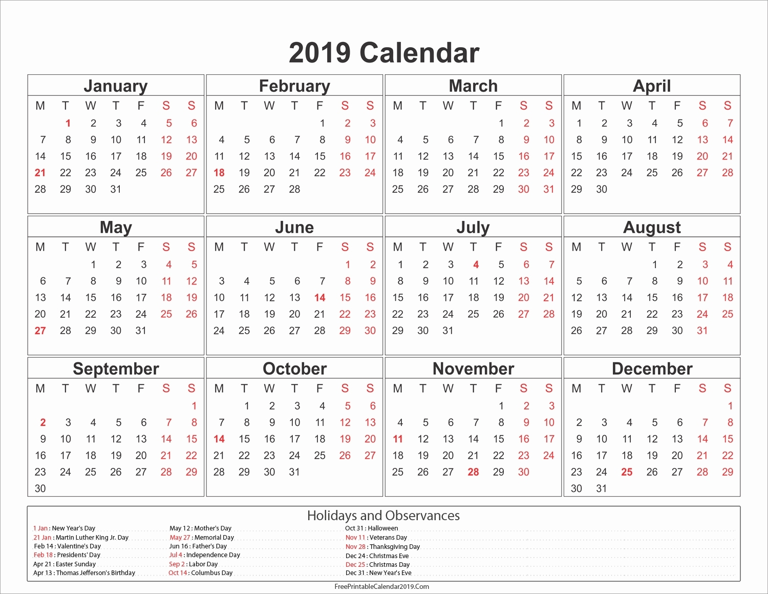 Philippines 2019 12 Month Calendar T in Printable Template For Philippine Calendar