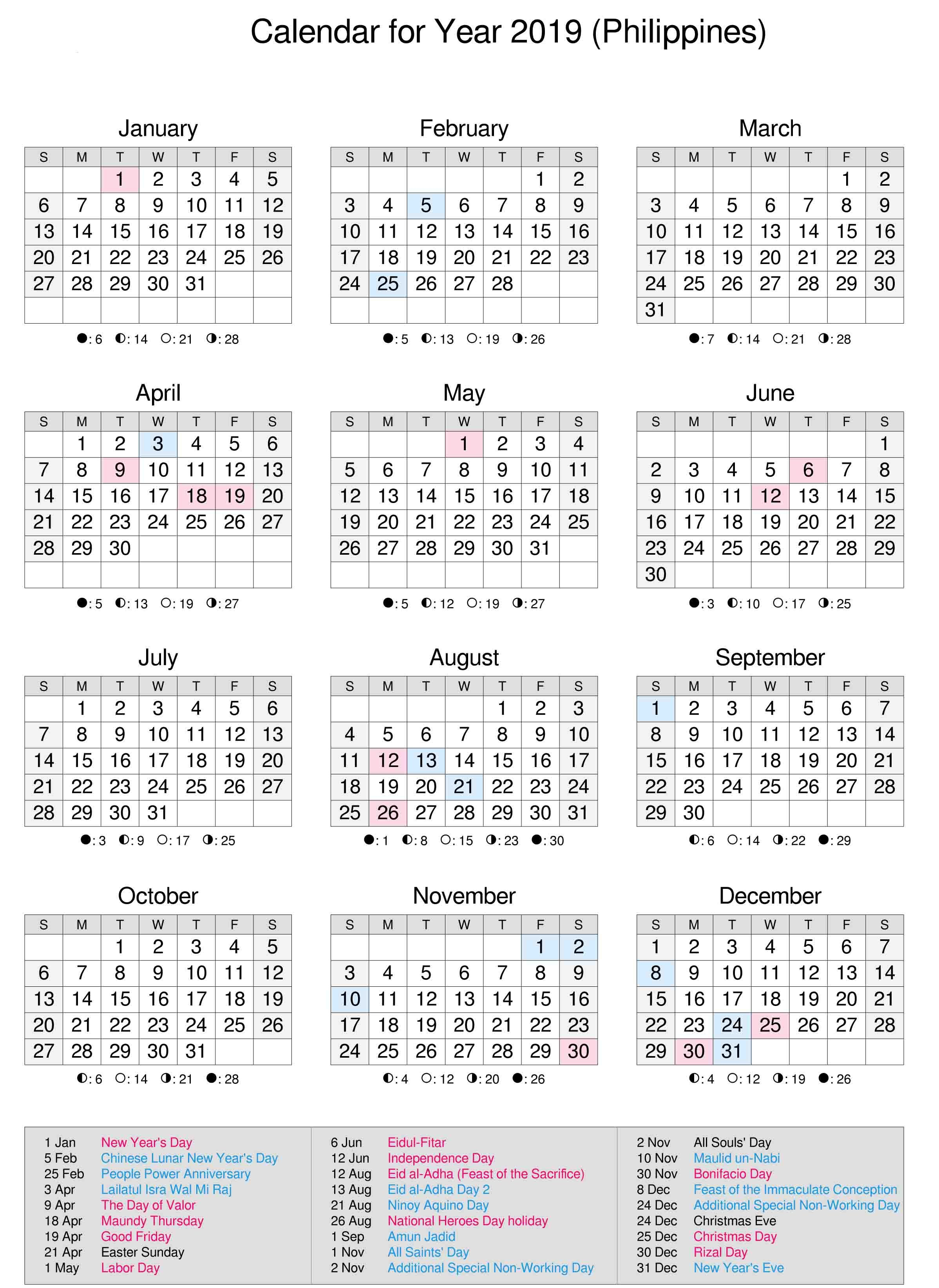 Philippines 2019 Calendar | Calendar 2019 | 2019 Calendar, Calendar pertaining to Printable Template For Philippine Calendar