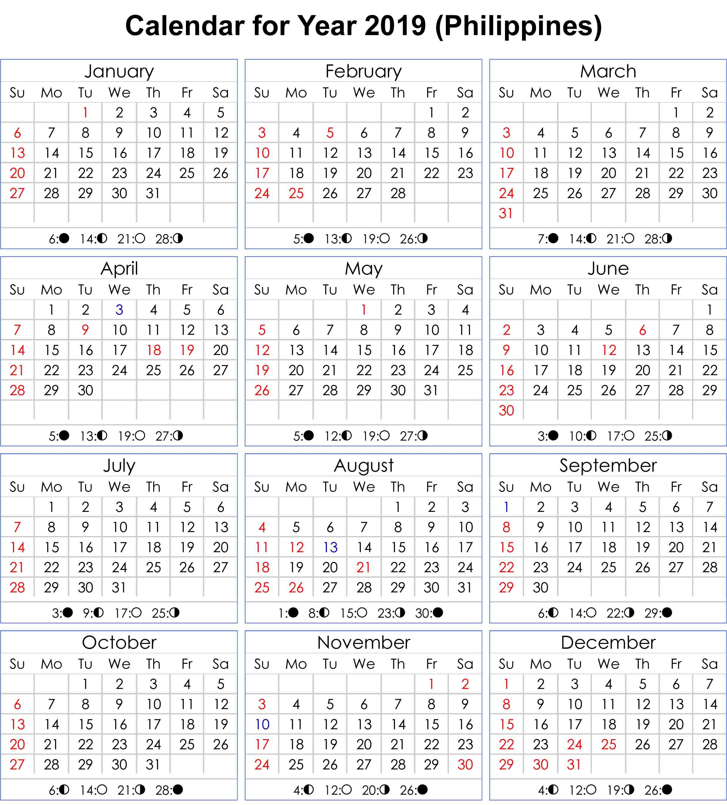 Philippines 2019 Calendar With Moon Phases | Calendar 2019 | 2019 in Printable Template For Philippine Calendar