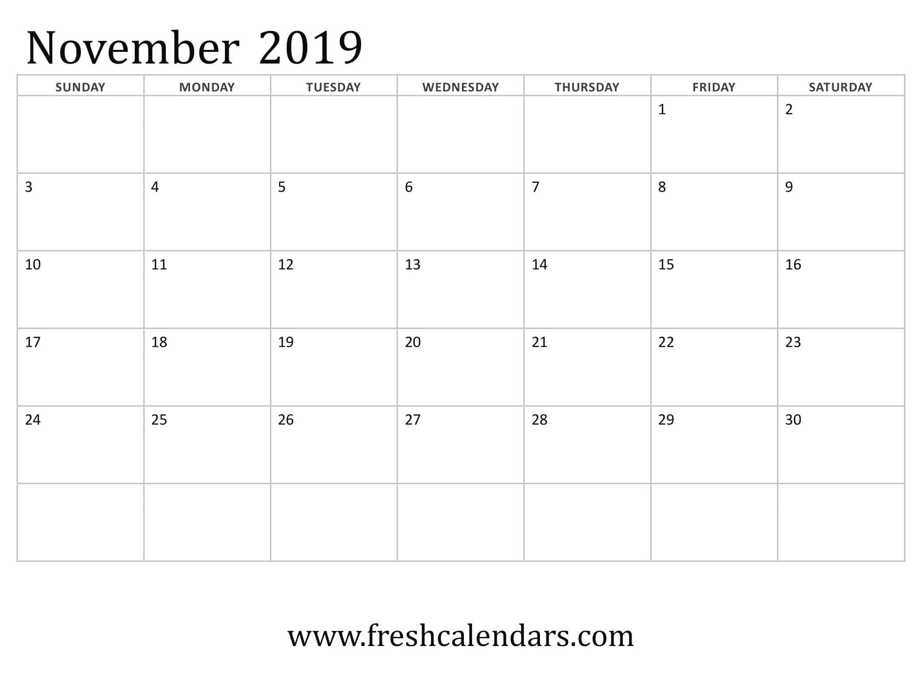 Pick Monthly Calendar Printable November 2019 Thanksgiving ⋆ The in Monday To Sunday Calendar Template November