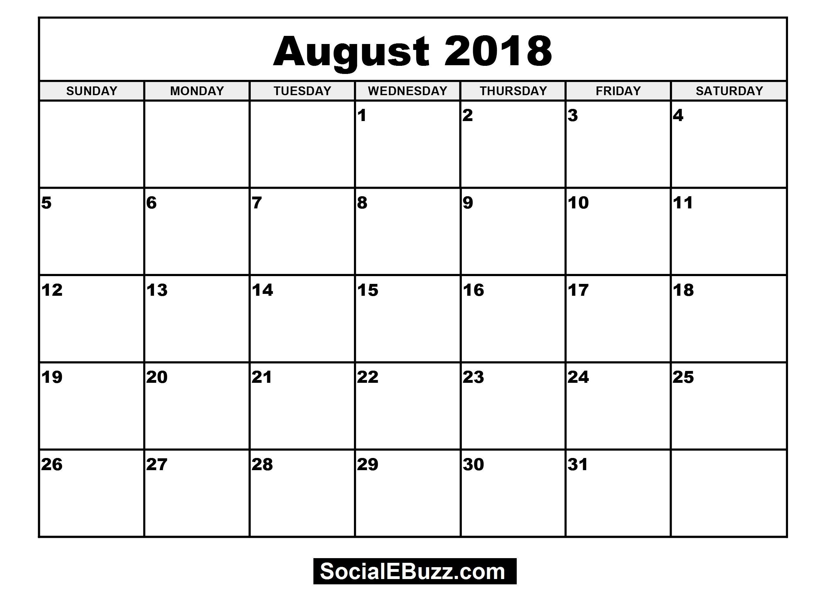 Pincalendar Printable On August 2018 Calendar | 2018 Calendar within August - December Blank Calendar