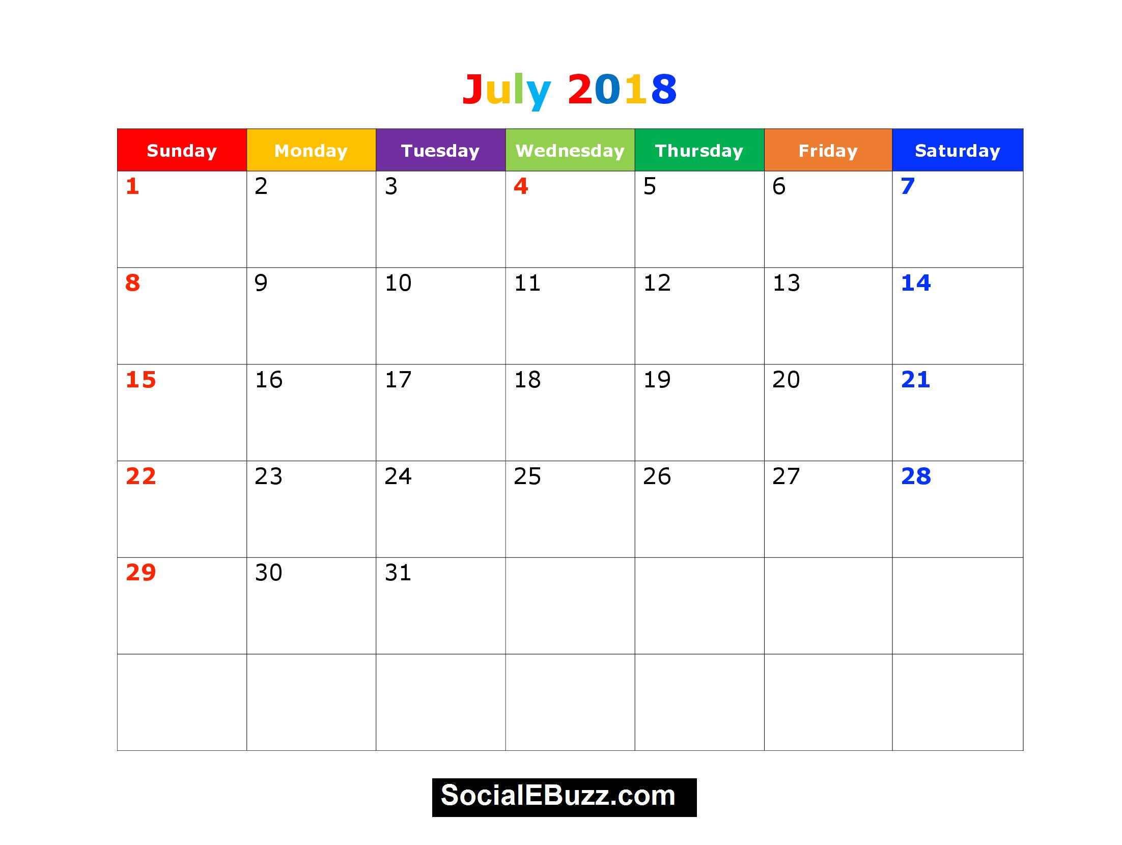 Pinmonthly Calendar On July Calendar 2018 | 2018 Printable throughout Printable Weekly Calendar Template July