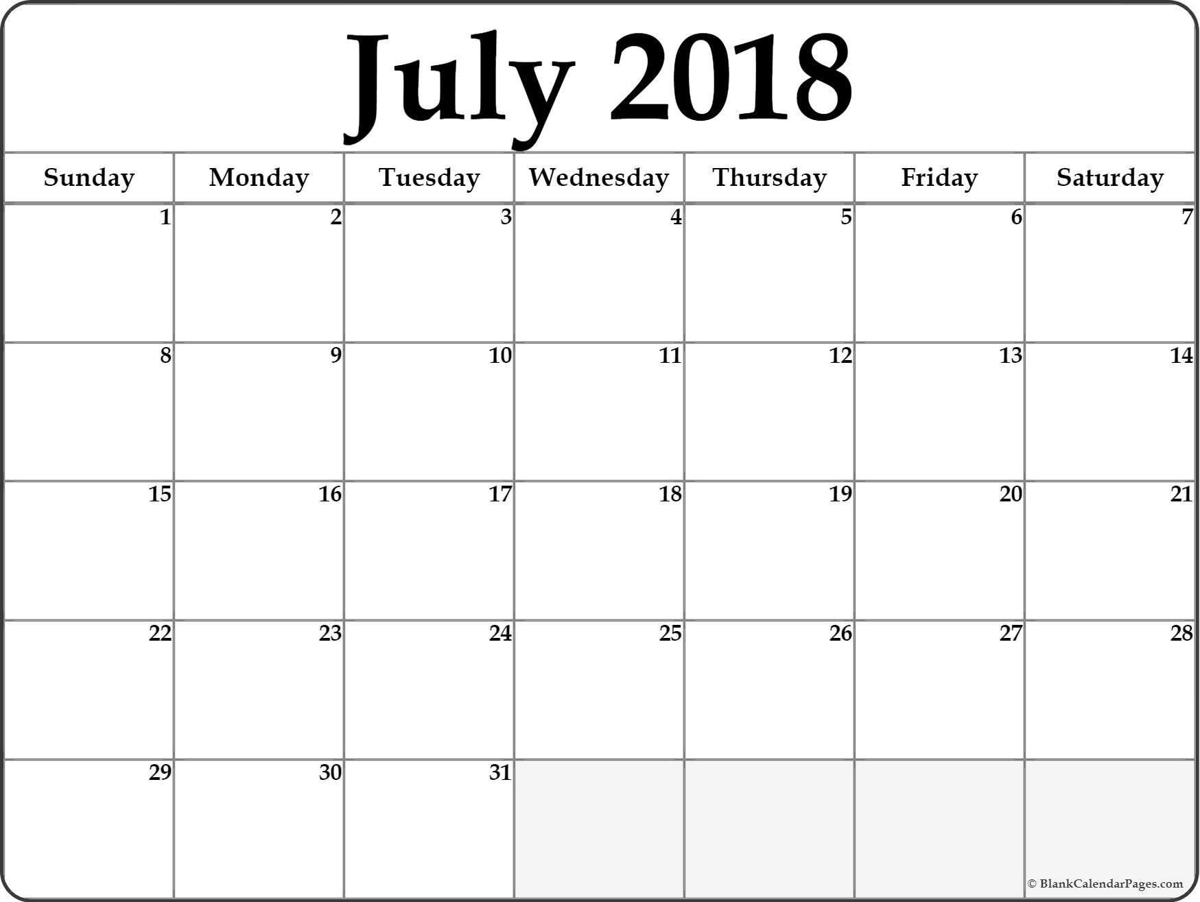 Pinmonthly Calendar On July Calendar 2018 | Printable Calendar with regard to Blank July Calendar Printable