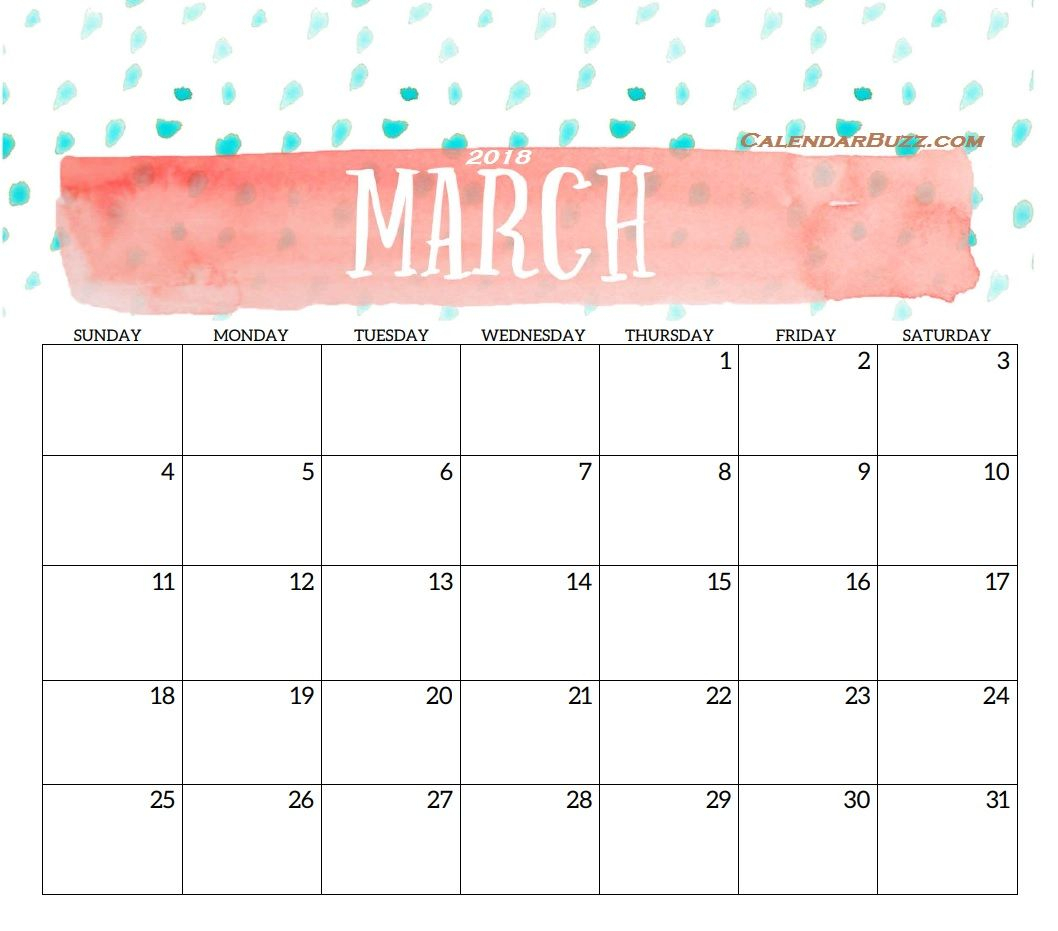 Pinnune On C | Calendar, Calendar March, Calendar 2018 for Pretty Calendar Template Printable March