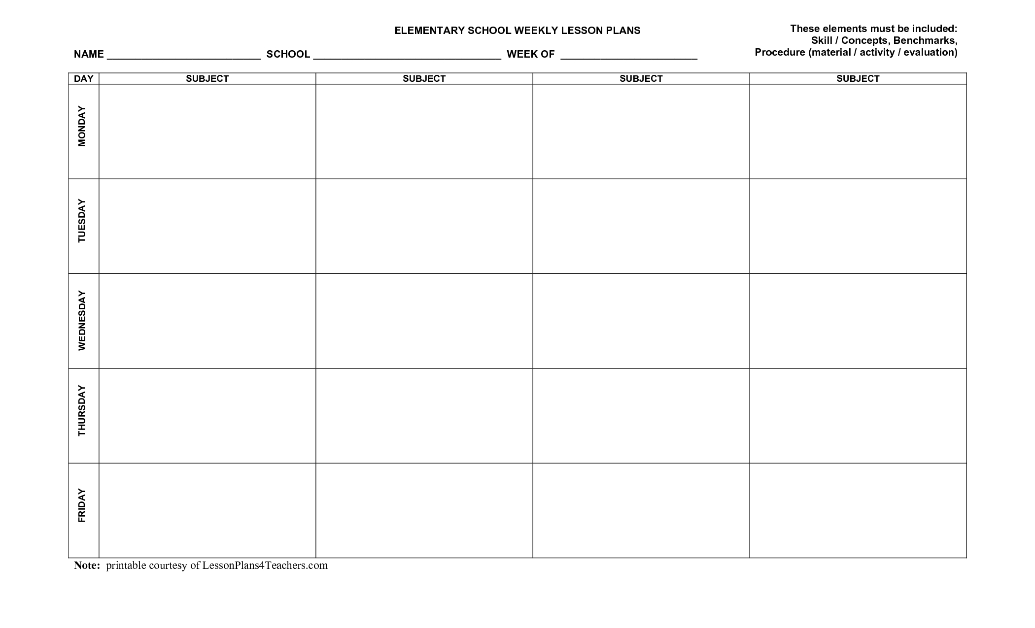 Pinterri Bagby On School Activities | Weekly Lesson Plan with Basic Lesson Plan Template Printable