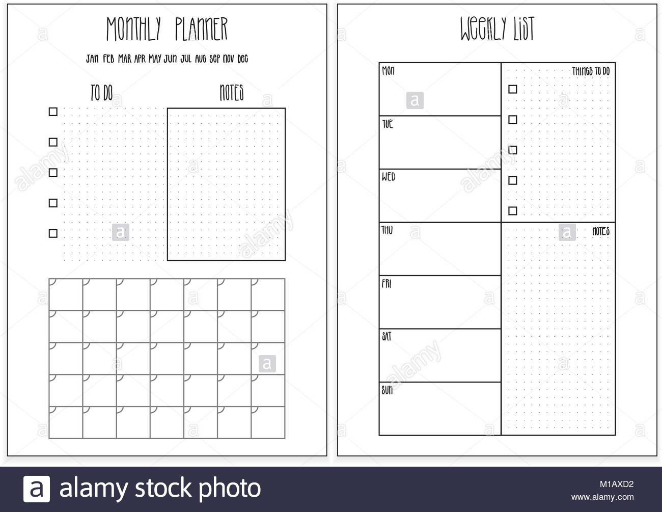 Planner Printable Stock Photos & Planner Printable Stock Images - Alamy throughout Doodle Monthly Planner Printer Templates
