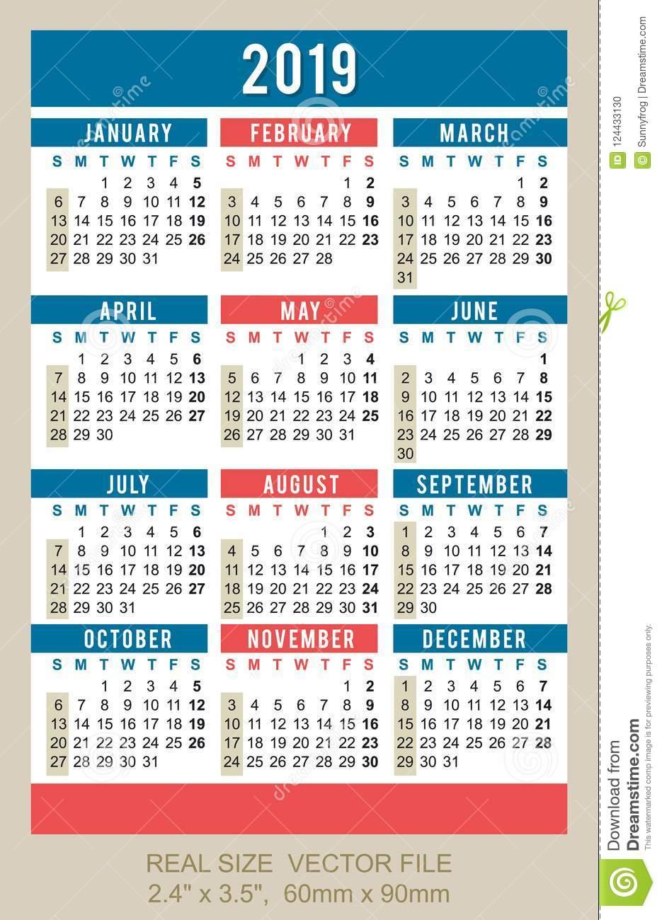 Pocket Calendar 2019, Vector, Start On Sunday Stock Vector for Calendar October 2019 Pocket Calendar