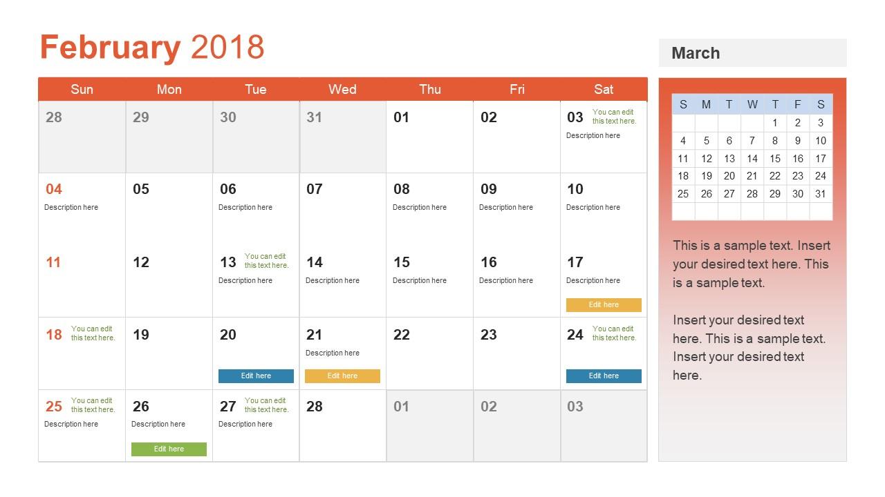Powerpoint Calendar Template Year 2018 with Event Planning Calendar Template
