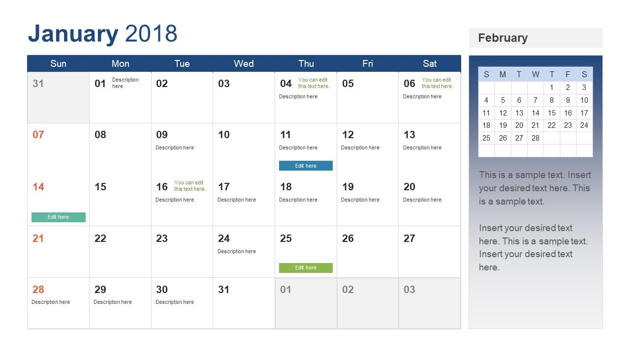 Powerpoint Calendar Template Year 2018 with regard to Monthly Calendar Powerpoint Template