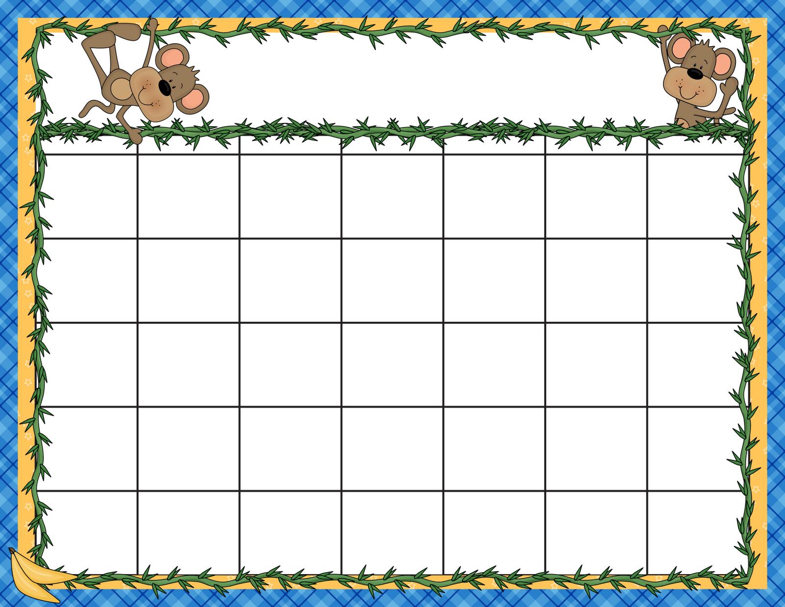 Preschool Calendar Templates – Emmamcintyrephotography throughout Monthly Planner Template For Children
