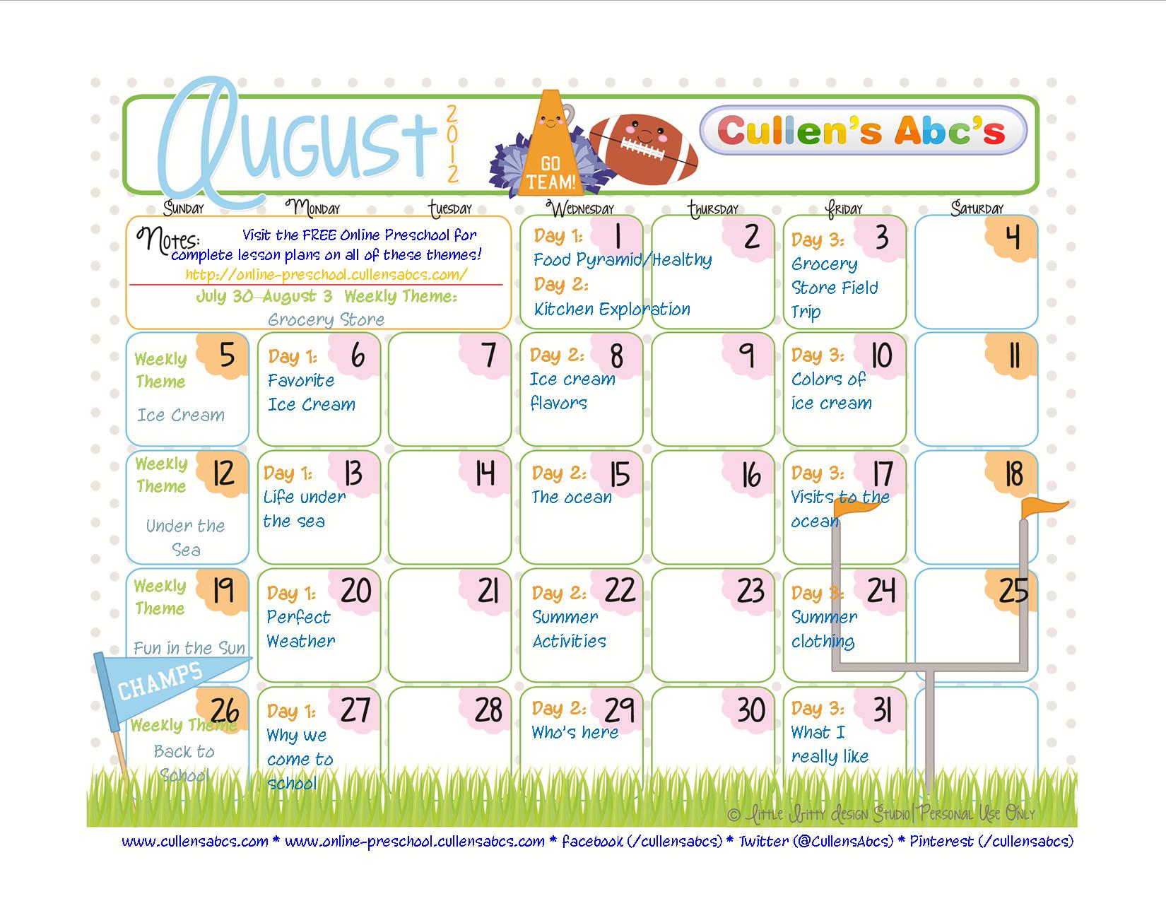 Preschool Calendars | Online Preschool And Children's Videos throughout August Calendar Template For Pre K