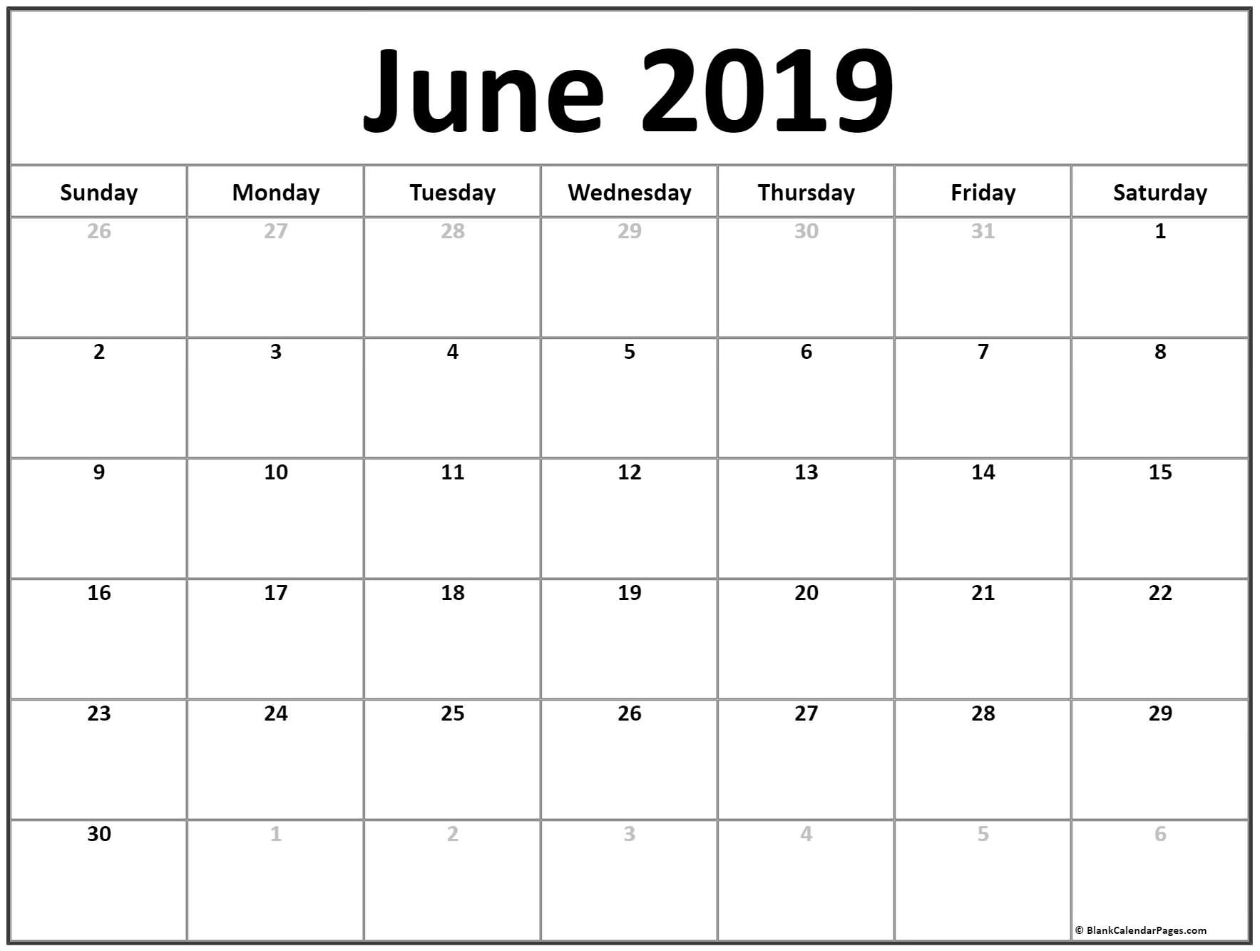 Prime June 2019 Month Blank Calander Monday Thru Friday Only for Blank Calendar Template Monday To Friday Only
