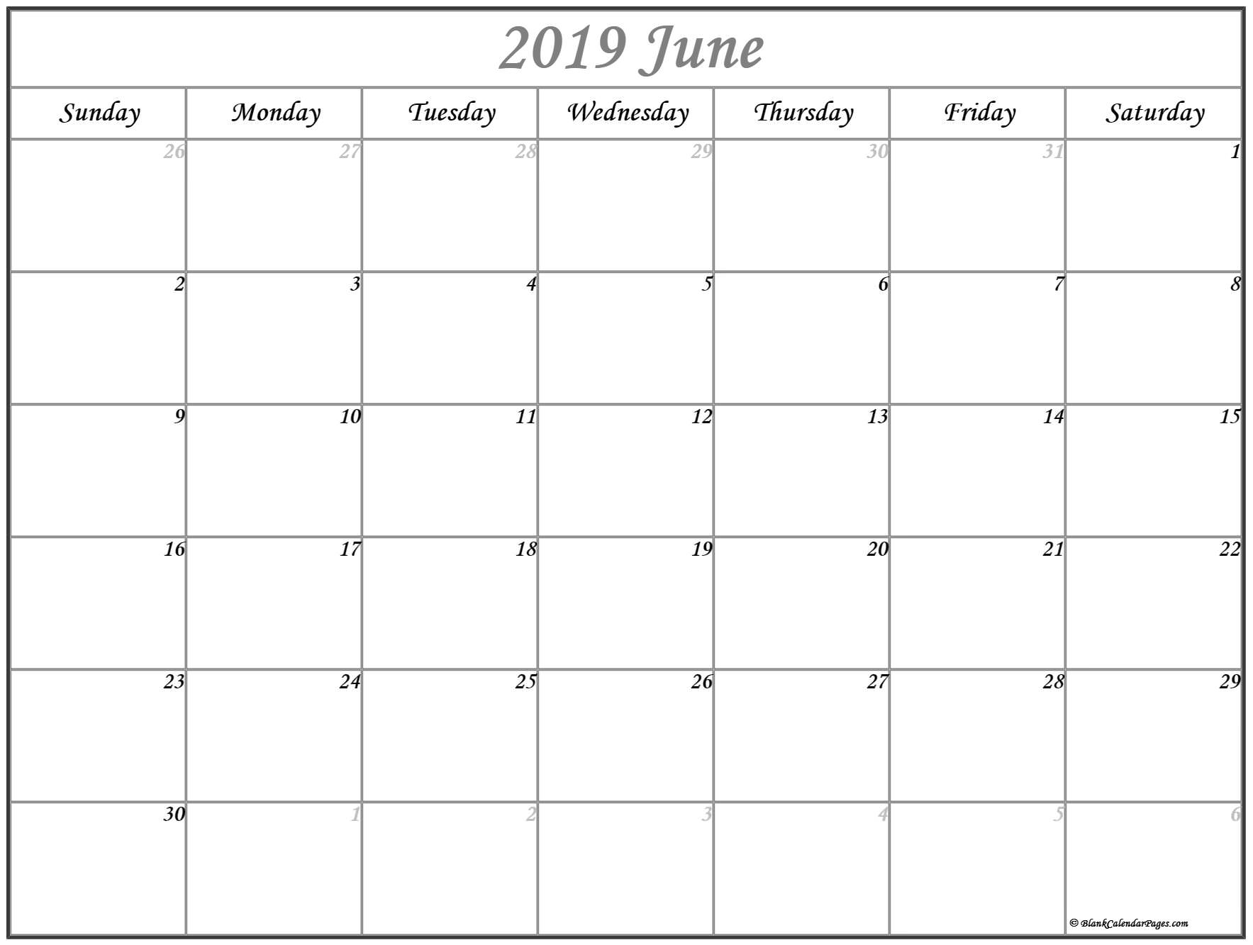 Prime June 2019 Month Blank Calander Monday Thru Friday Only pertaining to Blank Calendar Template Monday To Friday Only