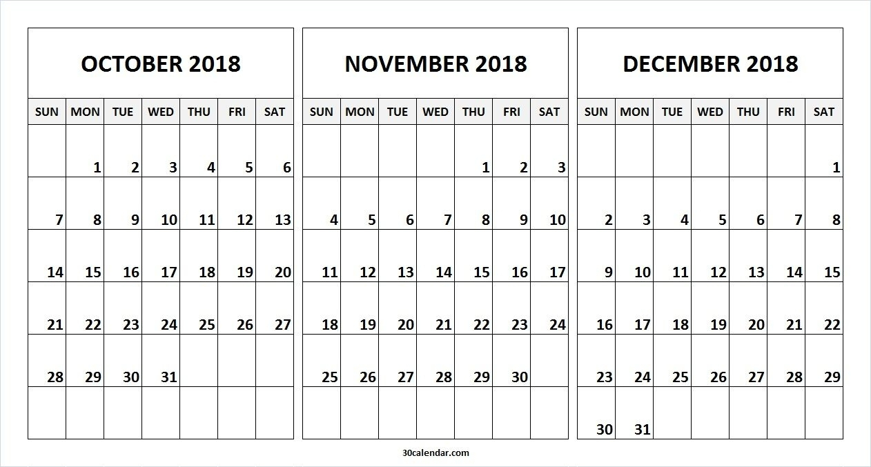 Prime October October December 2019 Calendar * Calendar Template regarding Calendar For October Thru December 2019