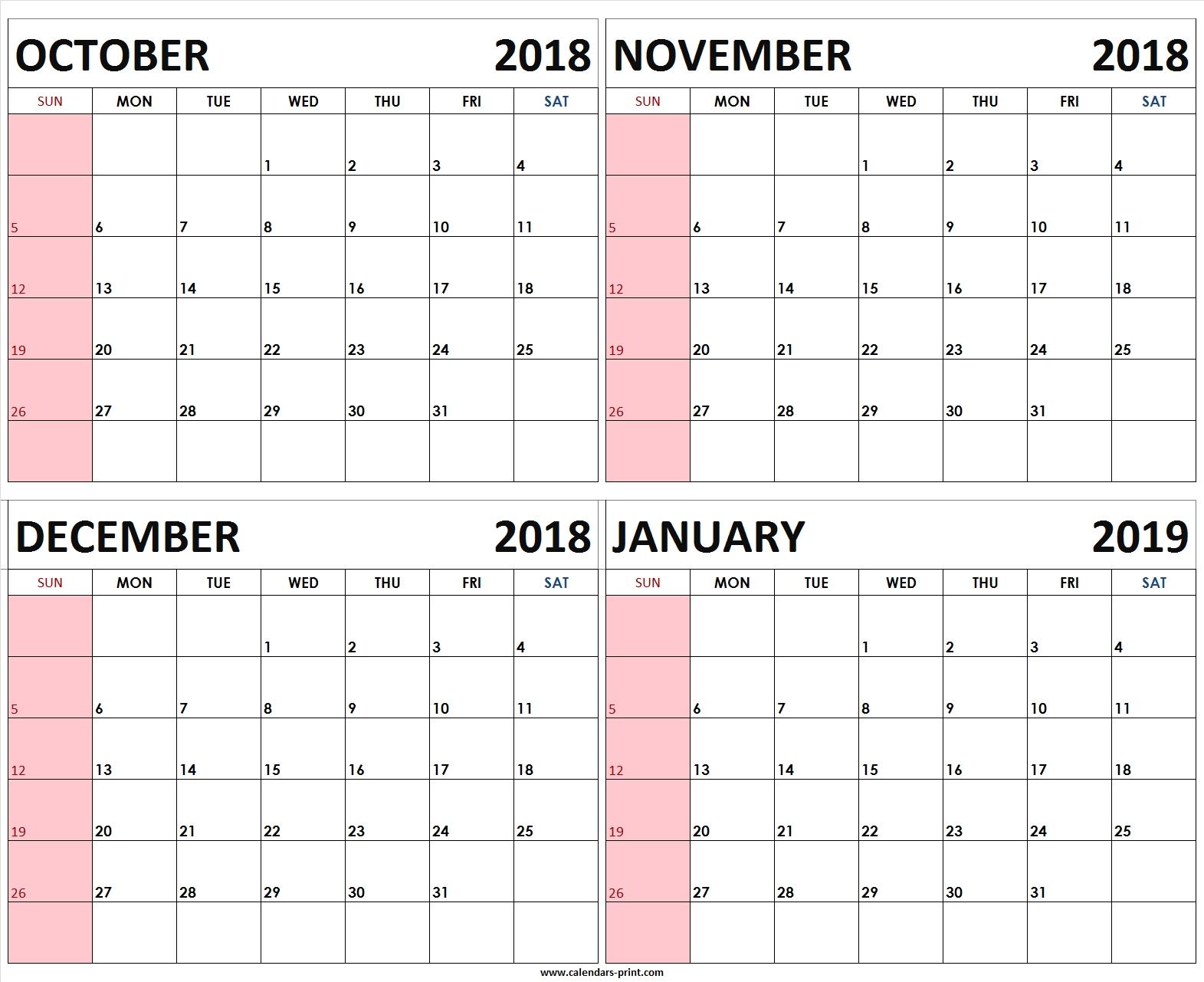 Prime October October December 2019 Calendar * Calendar Template within Calendar For October Thru December 2019