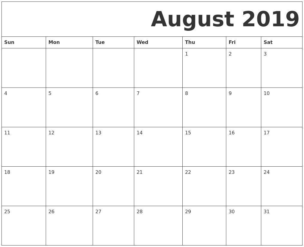 Print August 2019 Calendar In Page Format - Printable Calendar 2019 inside August Blank Calendar Pages