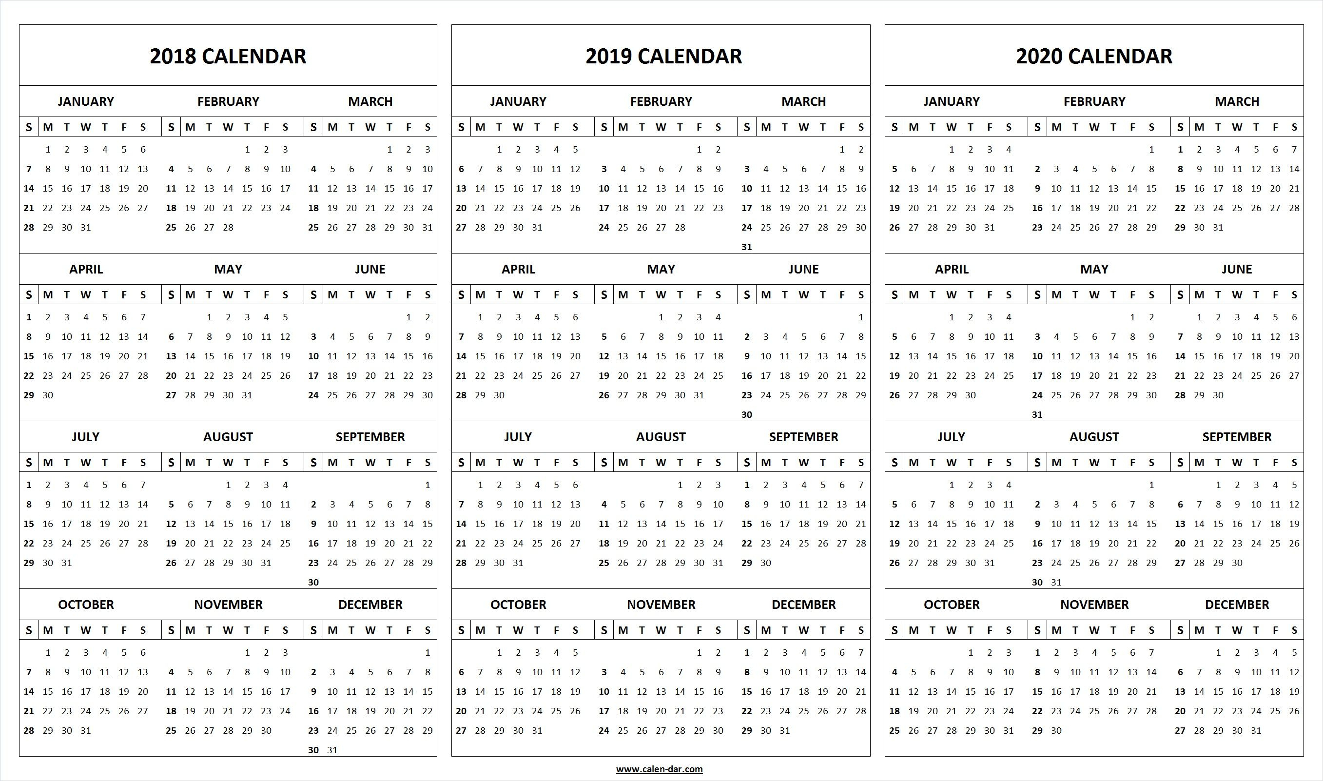 Print Blank 2018 2019 2020 Calendar Template | Organize! | 2019 for Blank 2020 Calendar Starting On Saturday Printable Free
