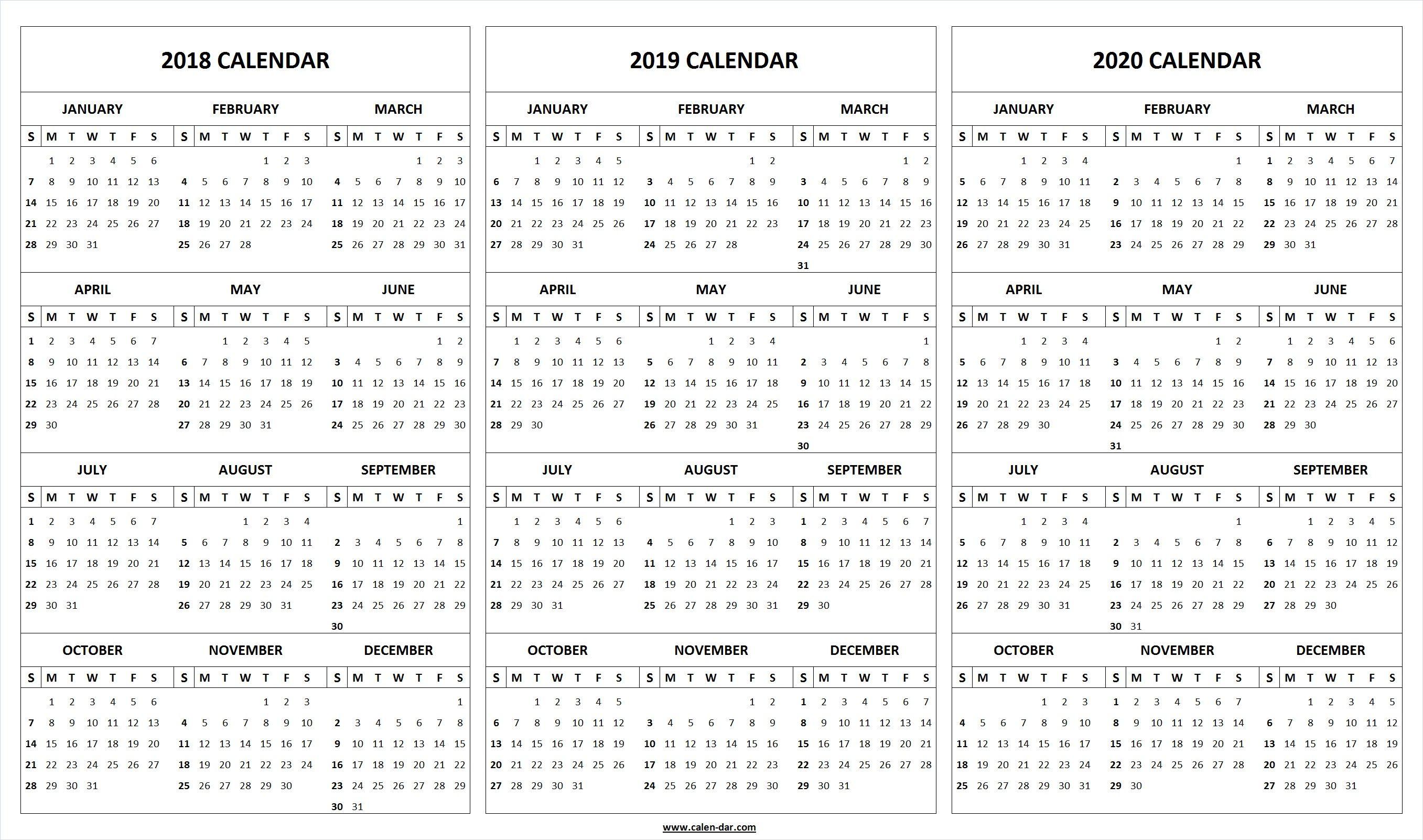 Print Blank 2018 2019 2020 Calendar Template | Organize! | 2019 intended for Printable Year At A Glance Calendar 2019-2020