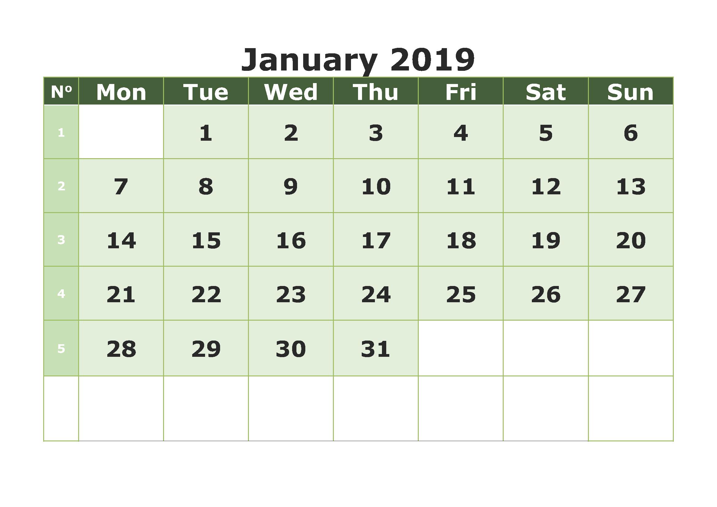 Print Blank Calendar January 2019 - Free Printable Calendar within Free Printable Blank Calendars