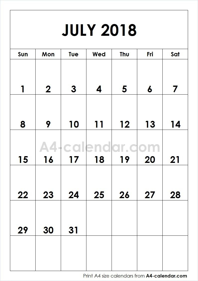 Print Free Blank July 2018 A4 Calendar From Www.a4-Calendar pertaining to Blanket Calender Printables For December