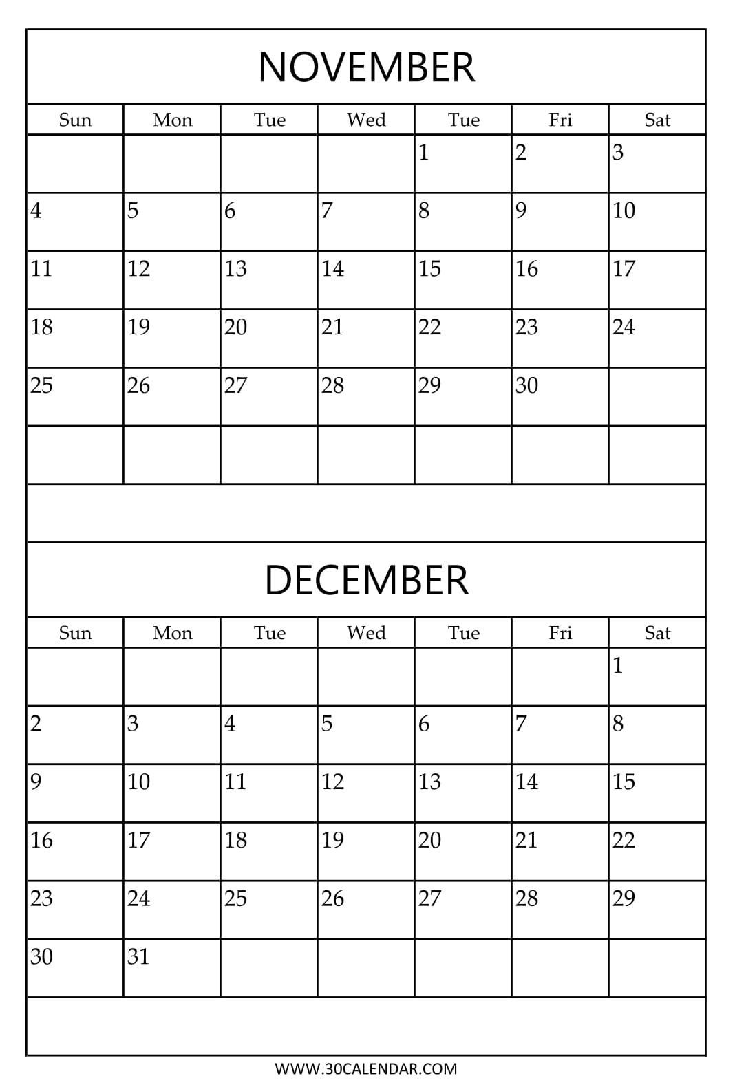 Print Free Calendar 2018 November December Two Months Template regarding 2 Month Calendar Template Printable