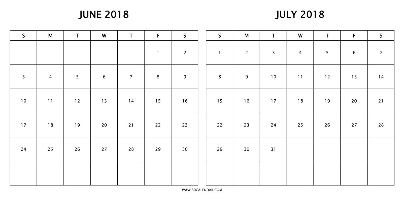 Print Free Two Month Calendar 2018 June July With Holidays | 2018 within 2 Month Calendar Template June July