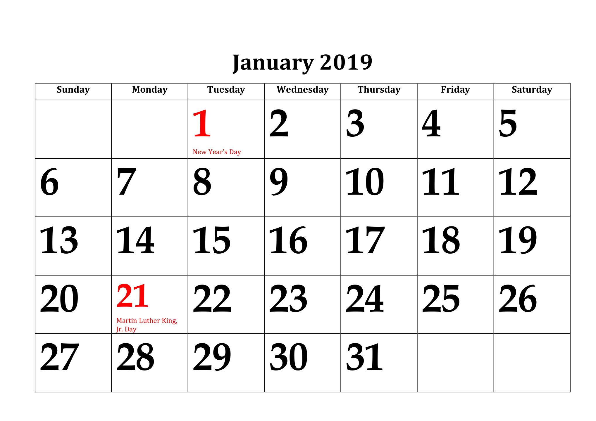 Print January 2019 Calendar With Holidays - Printable Calendar Templates with regard to January Calendar Printable Template With Holidays