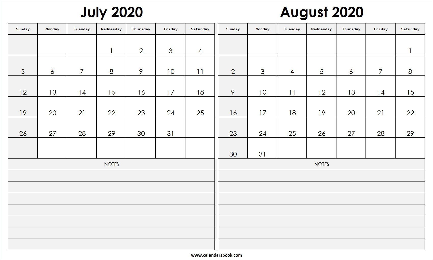 Print July August 2020 Calendar Template | 2 Month Calendar with regard to 2 Month Calendar Template June July