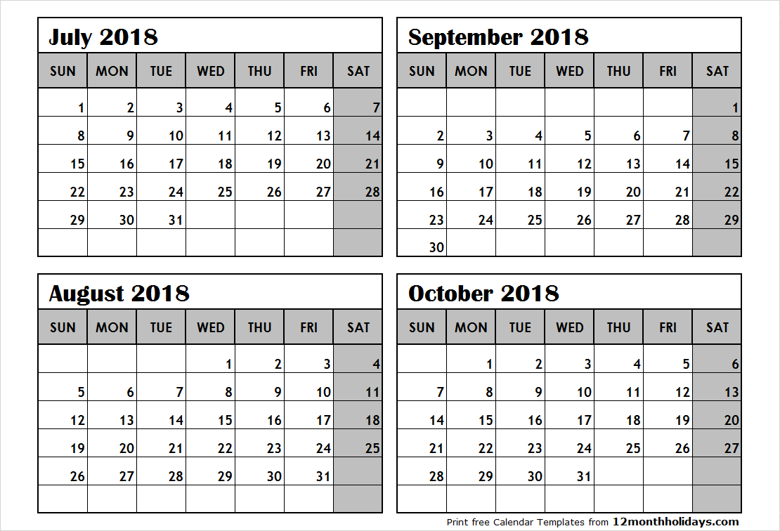 Print July To October 2018 Calendar Template | 4 Month Calendar throughout 4 Month Blank Calendar Template