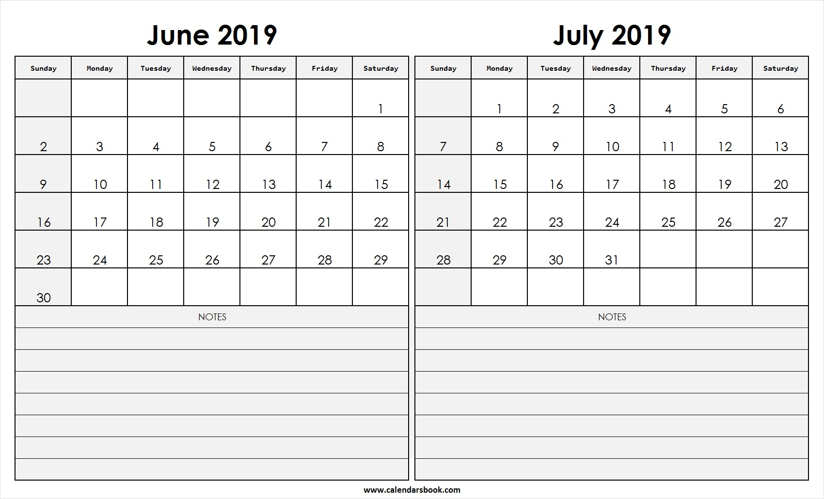Print June July 2019 Calendar Template | 2 Month Calendar within 2 Month Calendar Template June July