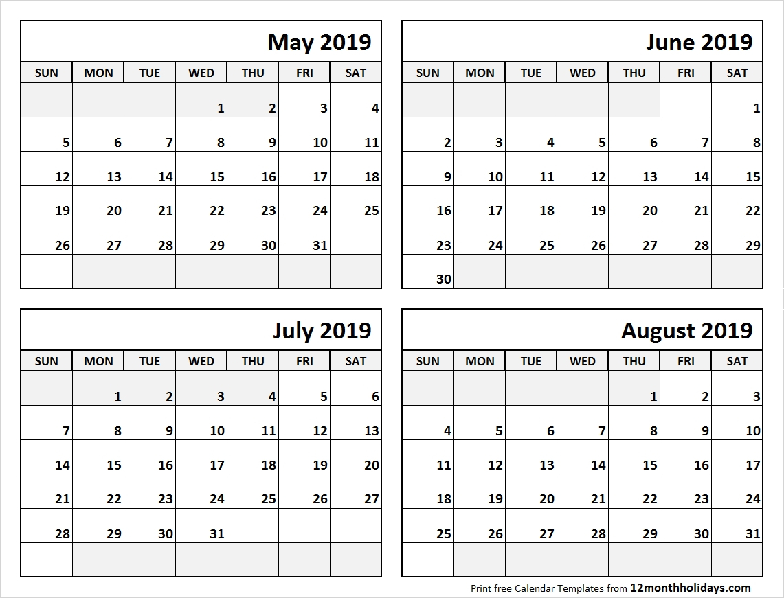 Print May To August 2019 Calendar Template | 4 Month Calendar Within inside 4 Month Blank Calendar Template