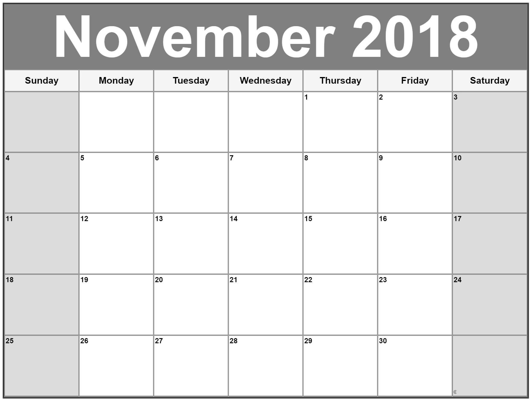 Print November 2018 Calendar Microsoft Online   125+ November 2018 within Microsoft November Calendar Templates