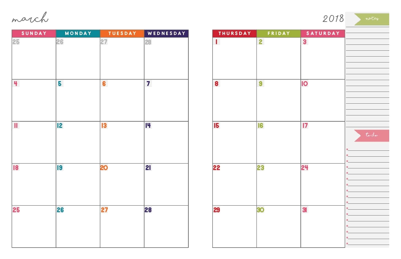 Printable 2 Month Calendar Page Calendar Template 2018 2 Page pertaining to Calendar Printable Monthly Planner Templates
