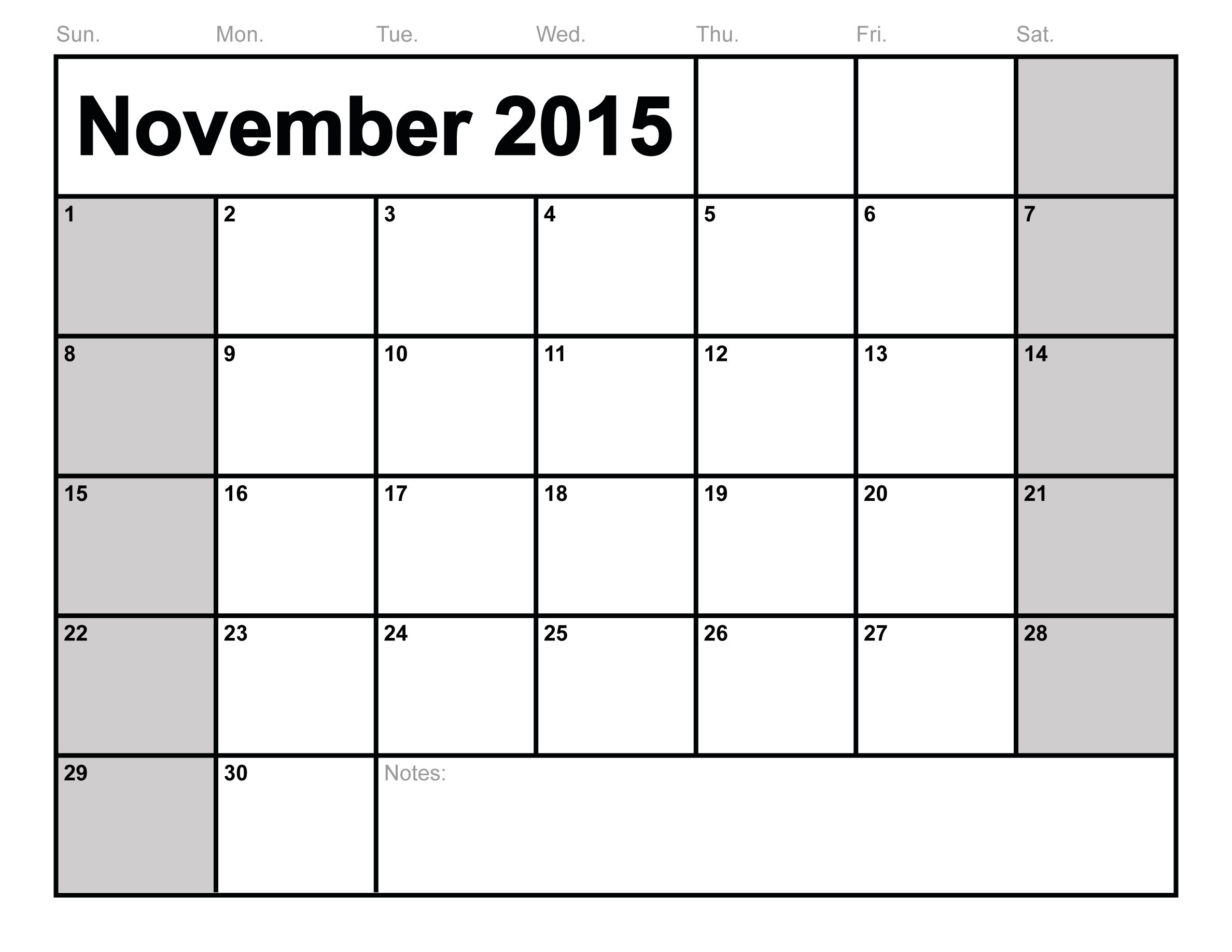 Printable 2015 November Calendar | Hauck Mansion within Monthly Calendar Template Novb
