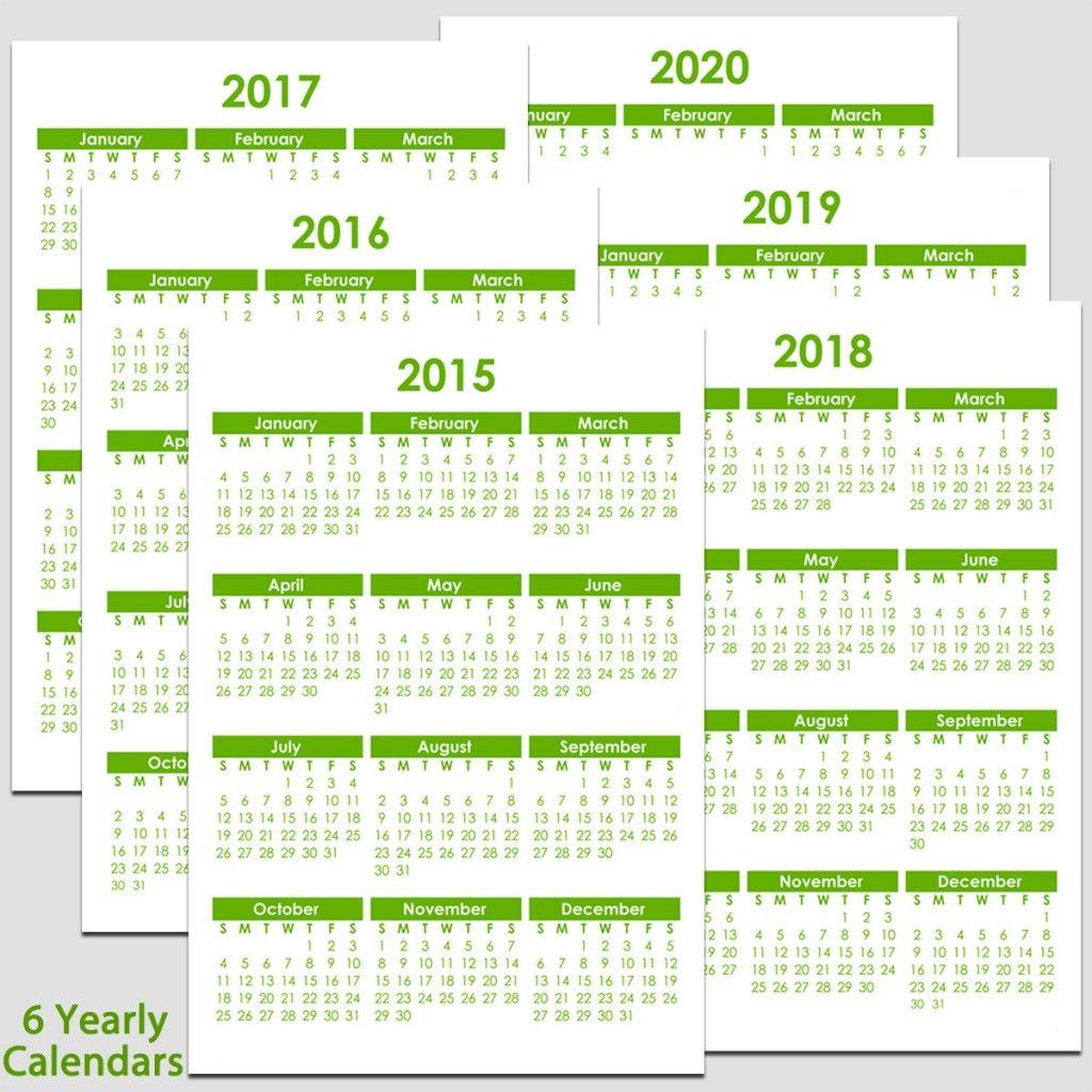 Printable 2015 To 2020 Yearly Calendar – 8 1/2″ X 11″. The Calendars in 2020 Calendar 8.5 X 11