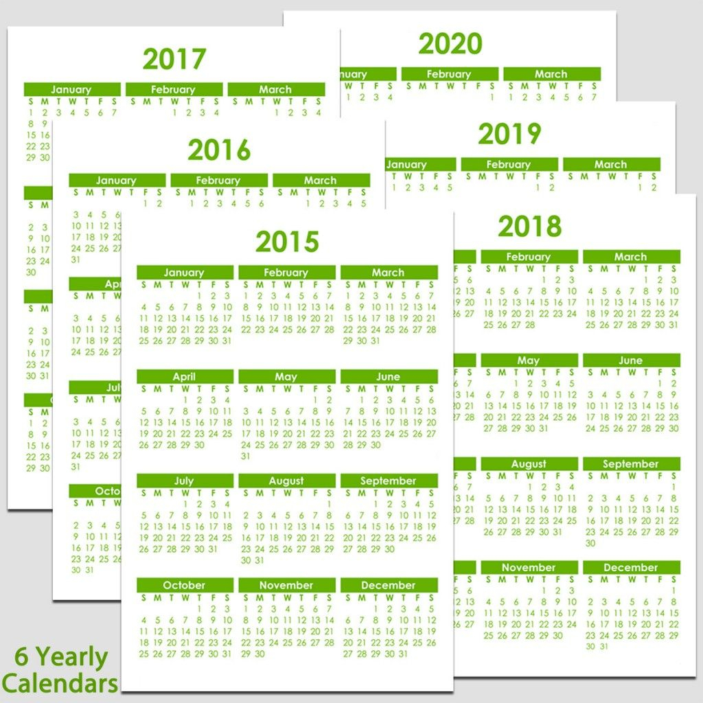 Printable 2015 To 2020 Yearly Calendar – 8 1/2″ X 11″. The Calendars in Printable 8.5 X 11 2020 Calendar
