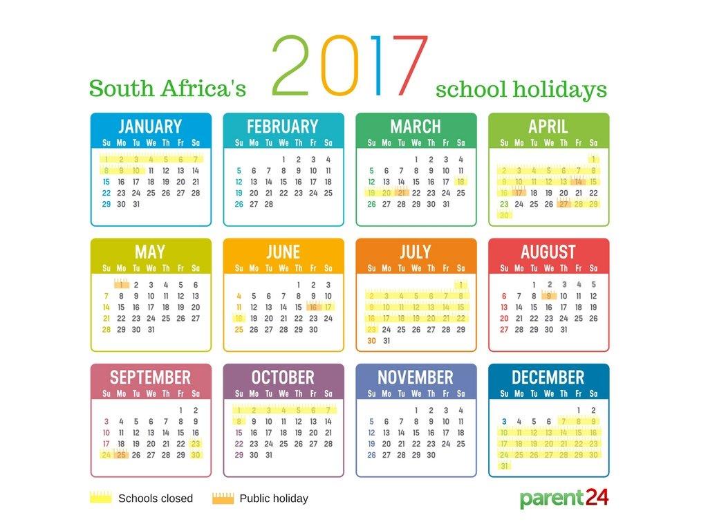Printable: 2017 School Holidays In South Africa Calendar | Parent24 regarding 5 School Day Calendar Blank