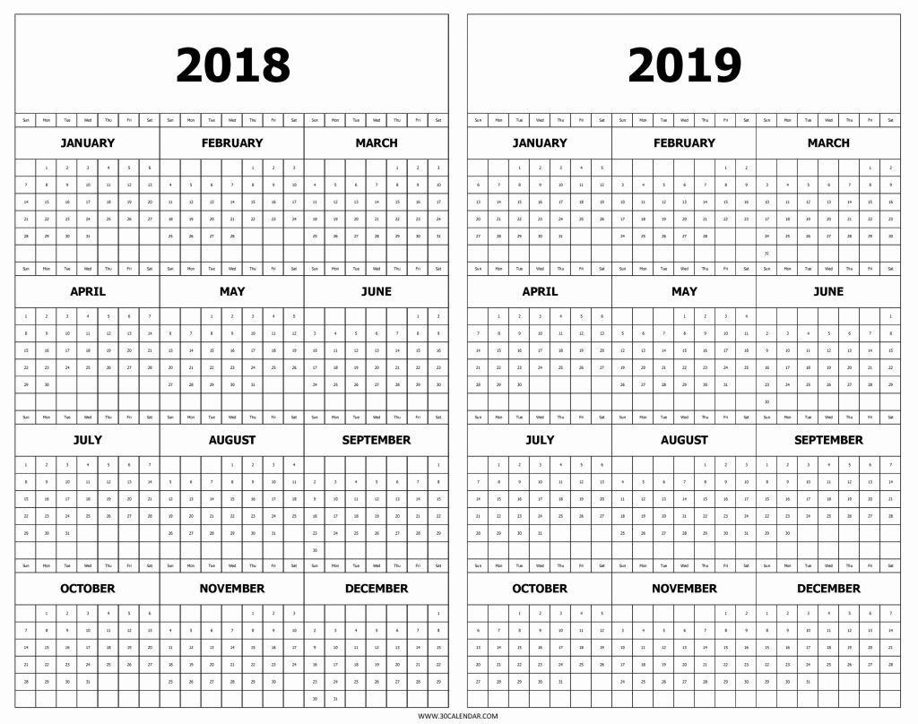 Printable 2018 2019 Calendar Calendar 2018 And 2019 Printable Free 2 in Calendar Template Year At A Glance