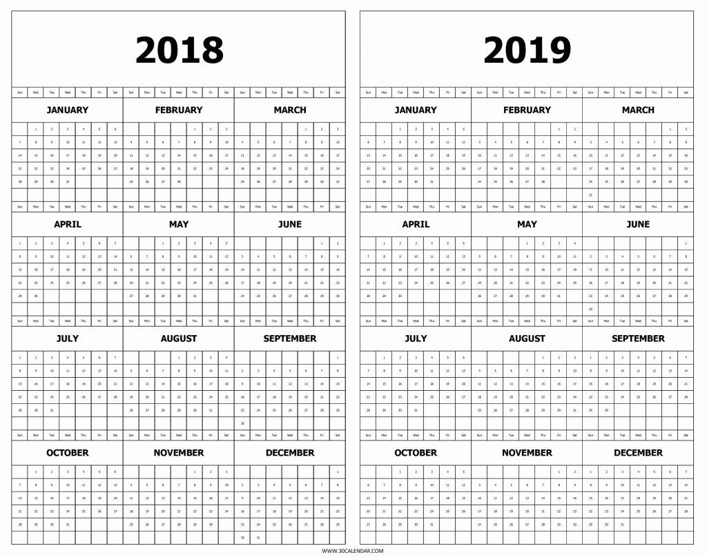 Printable 2018 2019 Calendar Calendar 2018 And 2019 Printable Free 2 inside Year At A Glance Calendar Template
